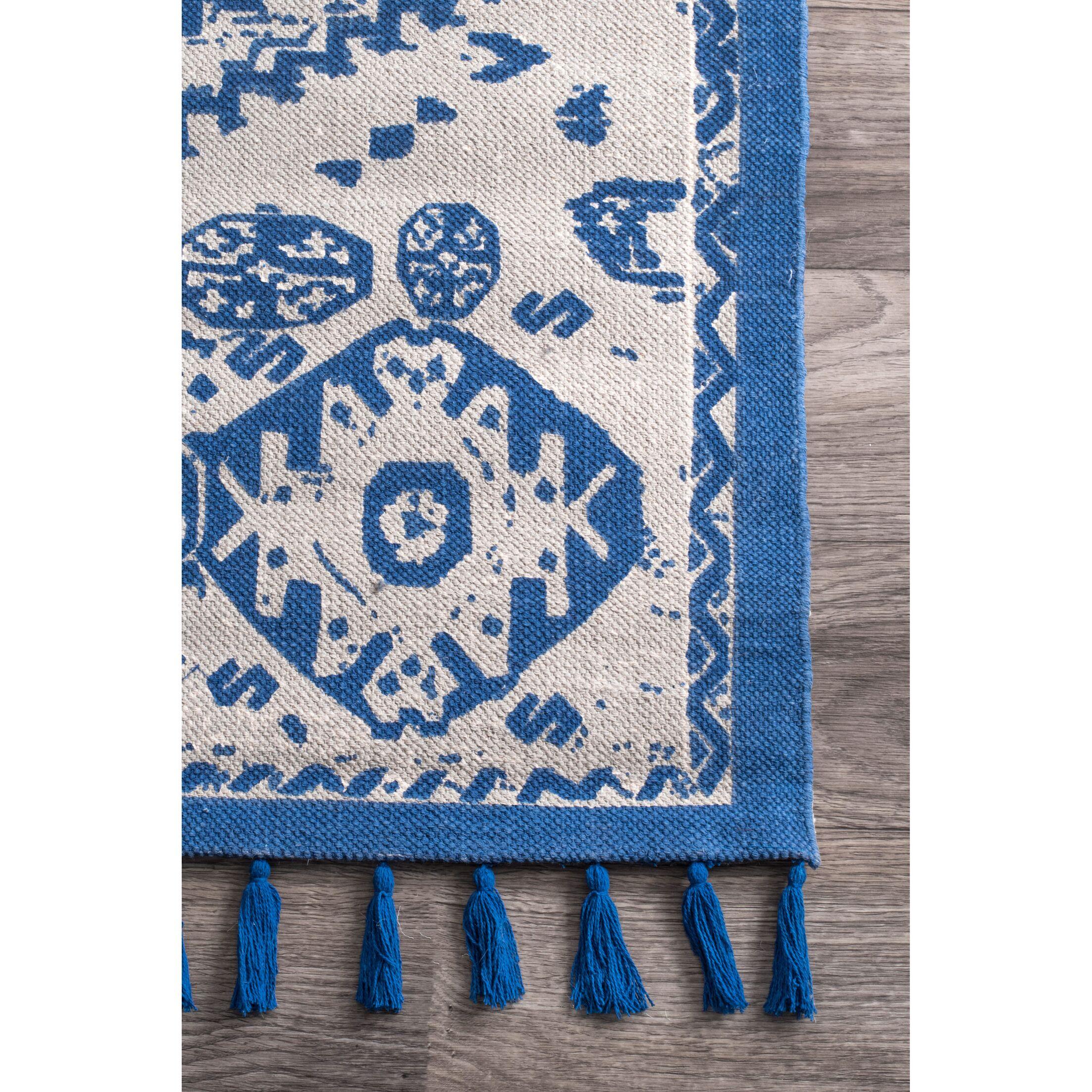 Quartier Hand-Woven Blue Area Rug Rug Size: Rectangle 8' x 10'