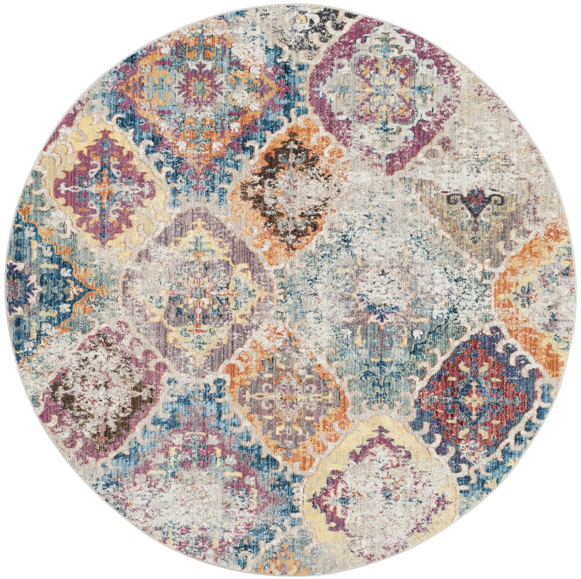 Lusulu Blue/Light Gray Area Rug Rug Size: Round 7'