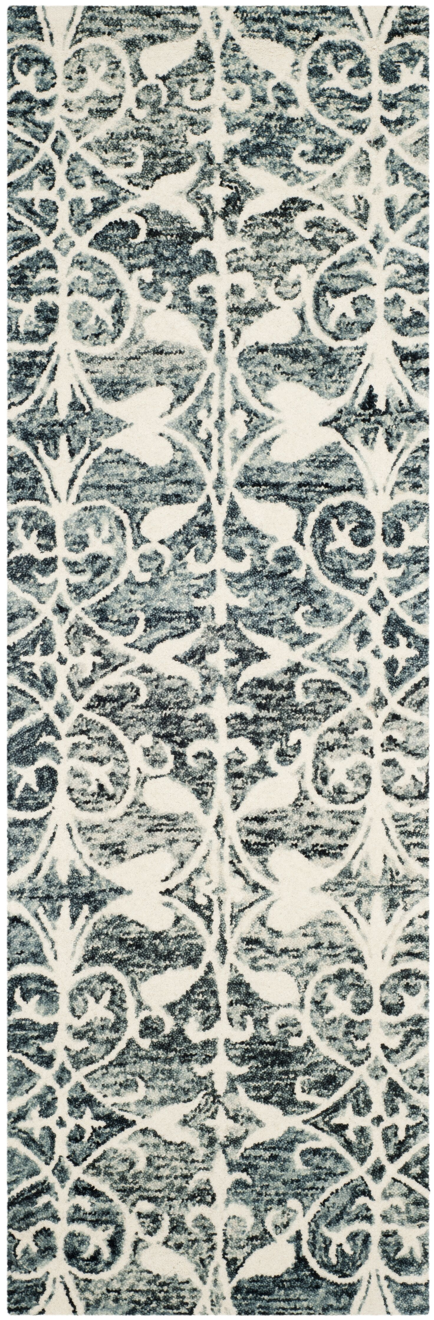 Greenmarket Hand-Tufted Charcoal/Ivory Area Rug Rug Size: Runner 2'3
