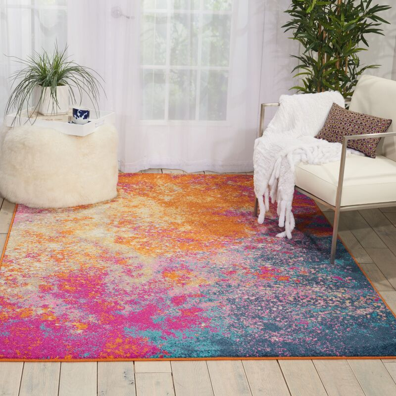 Shortwood Pink/Yellow Indoor Area Rug Rug Size: Rectangle 9