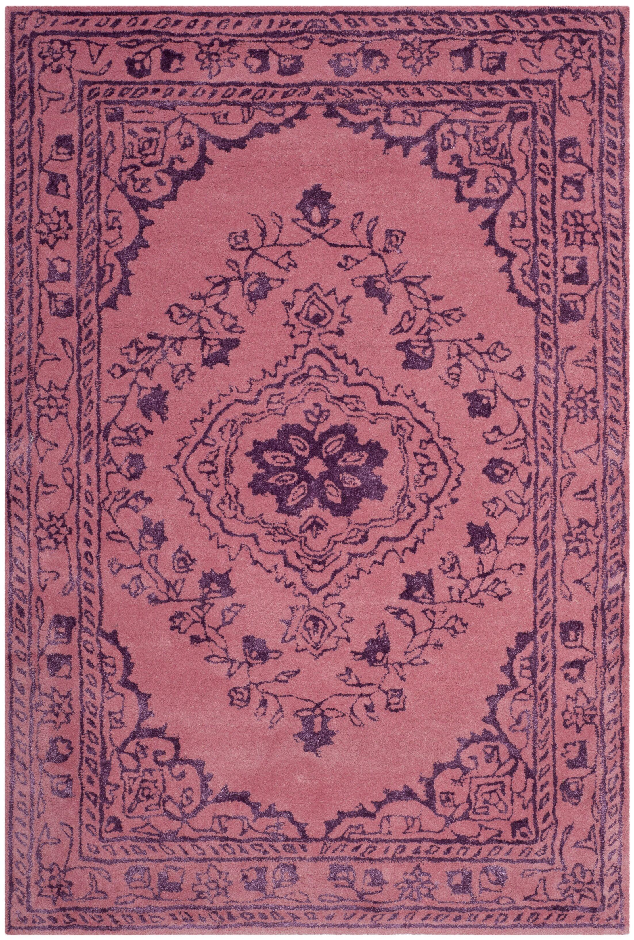 Samaniego Hand-Tufted Pink Area Rug Rug Size: Rectangle 4' x 6'