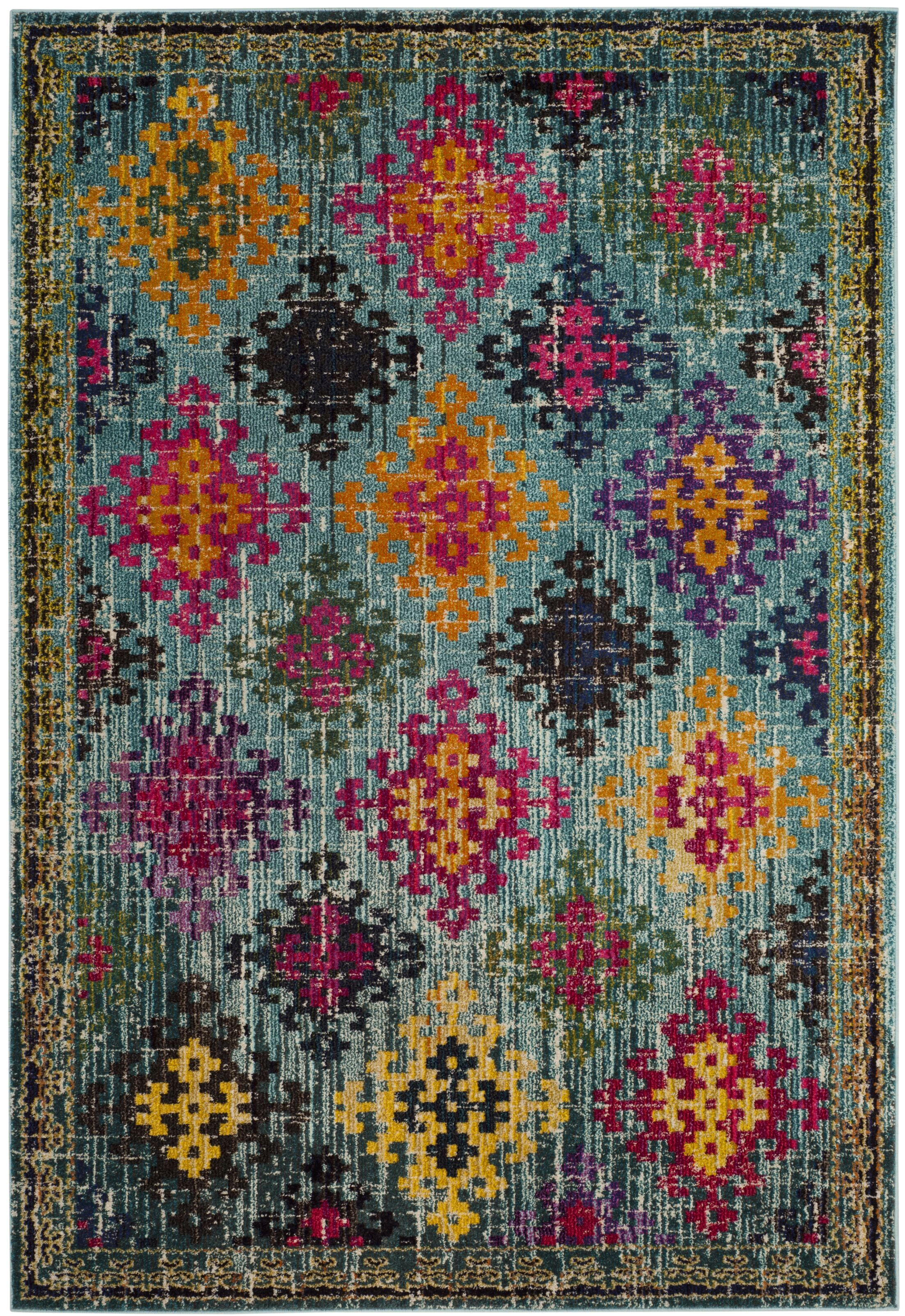 Chana Green/Pink Area Rug Rug Size: Square 6'7