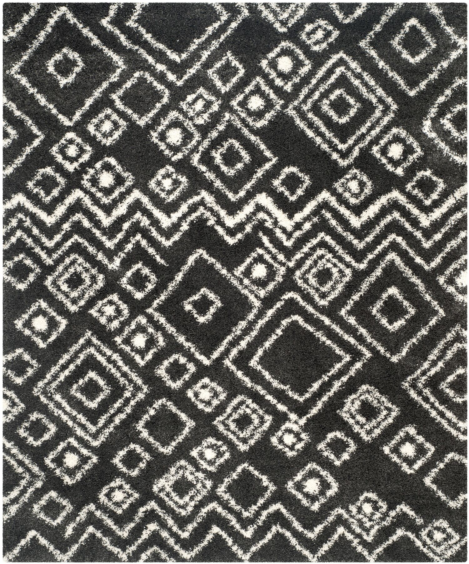 Malibu Charcoal / Ivory Area Rug Rug Size: Rectangle 8' x 10'