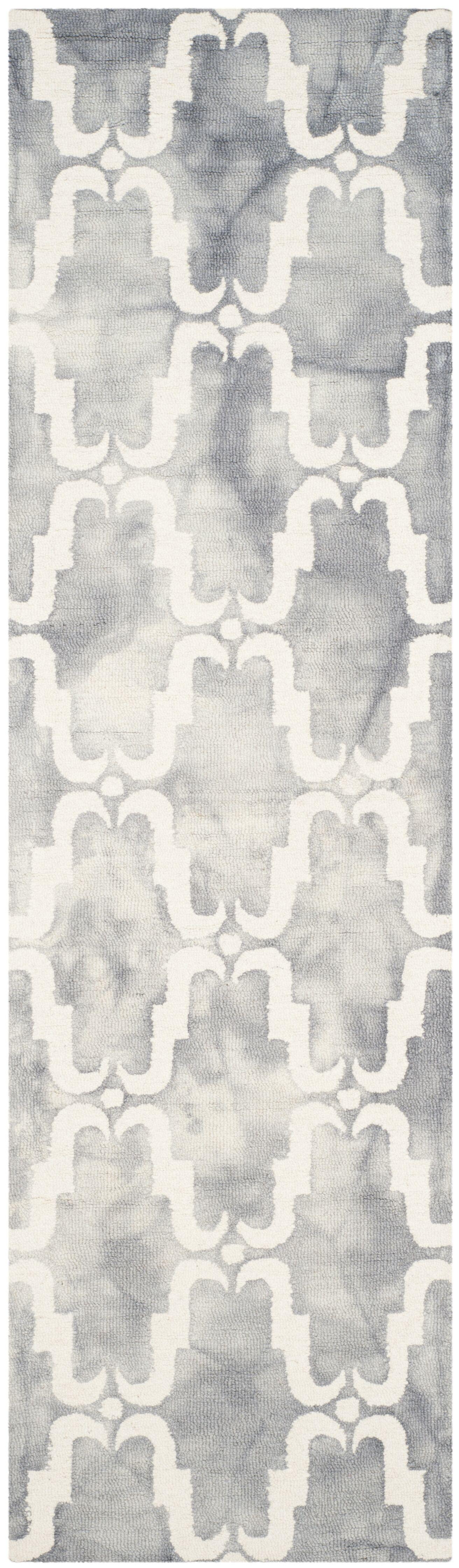 Hand-Tufted Dip Dye Gray/Ivory Area Rug Rug Size: Runner 2'3