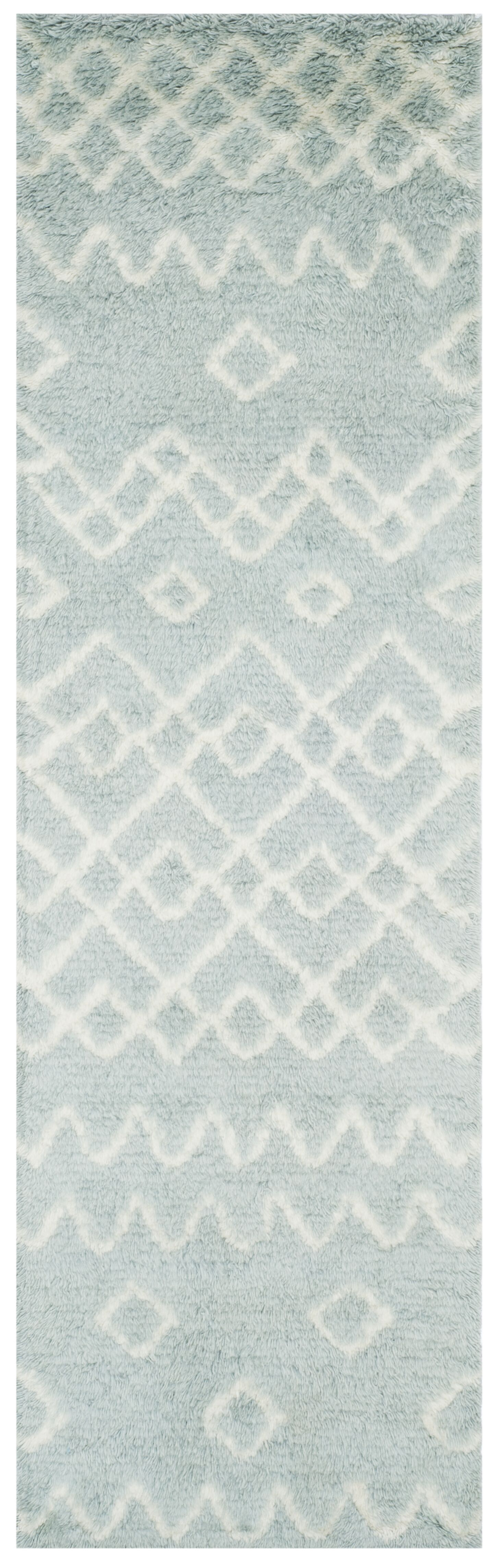 Cosima Hand-Knotted Blue/Ivory Area Rug Rug Size: Runner 2'3