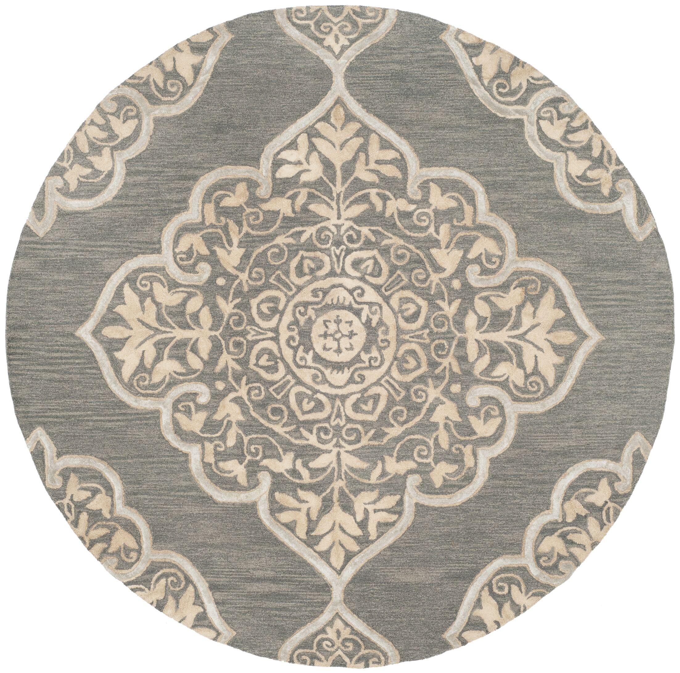Brennan Hand-Tufted Wool Slate Area Rug Rug Size: Round 7'