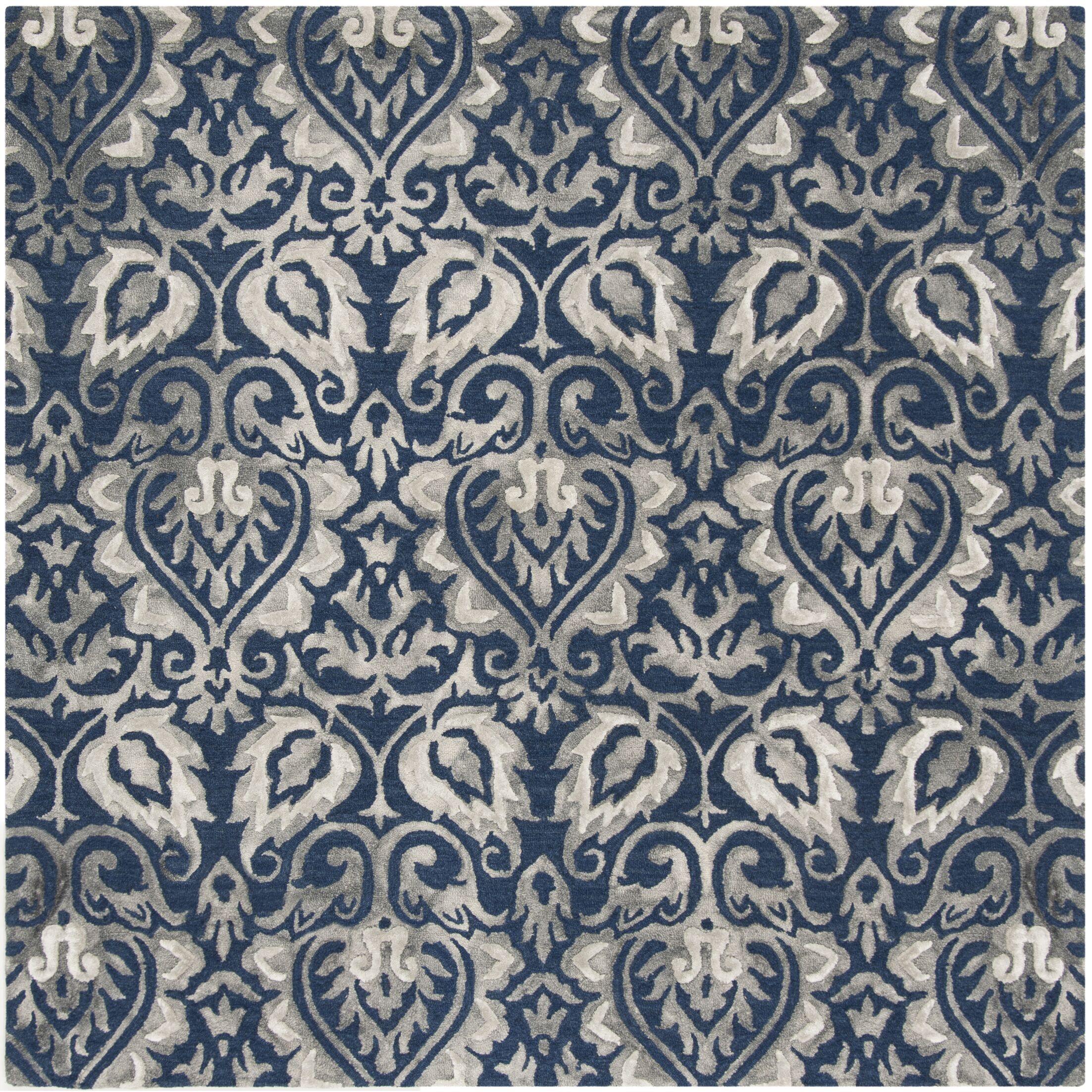 Brennan Hand-Tufted Wool Navy Area Rug Rug Size: Square 7'