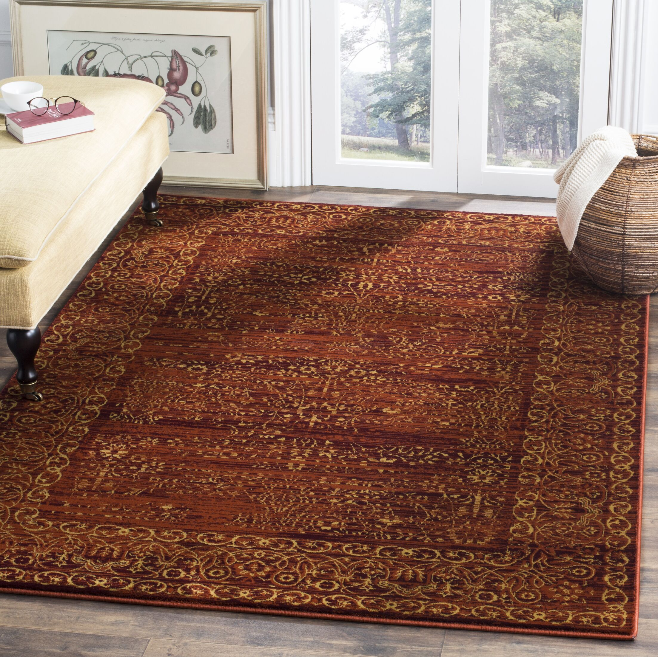 Zennia Ruby / Gold Area Rug Rug Size: Rectangle 8'6