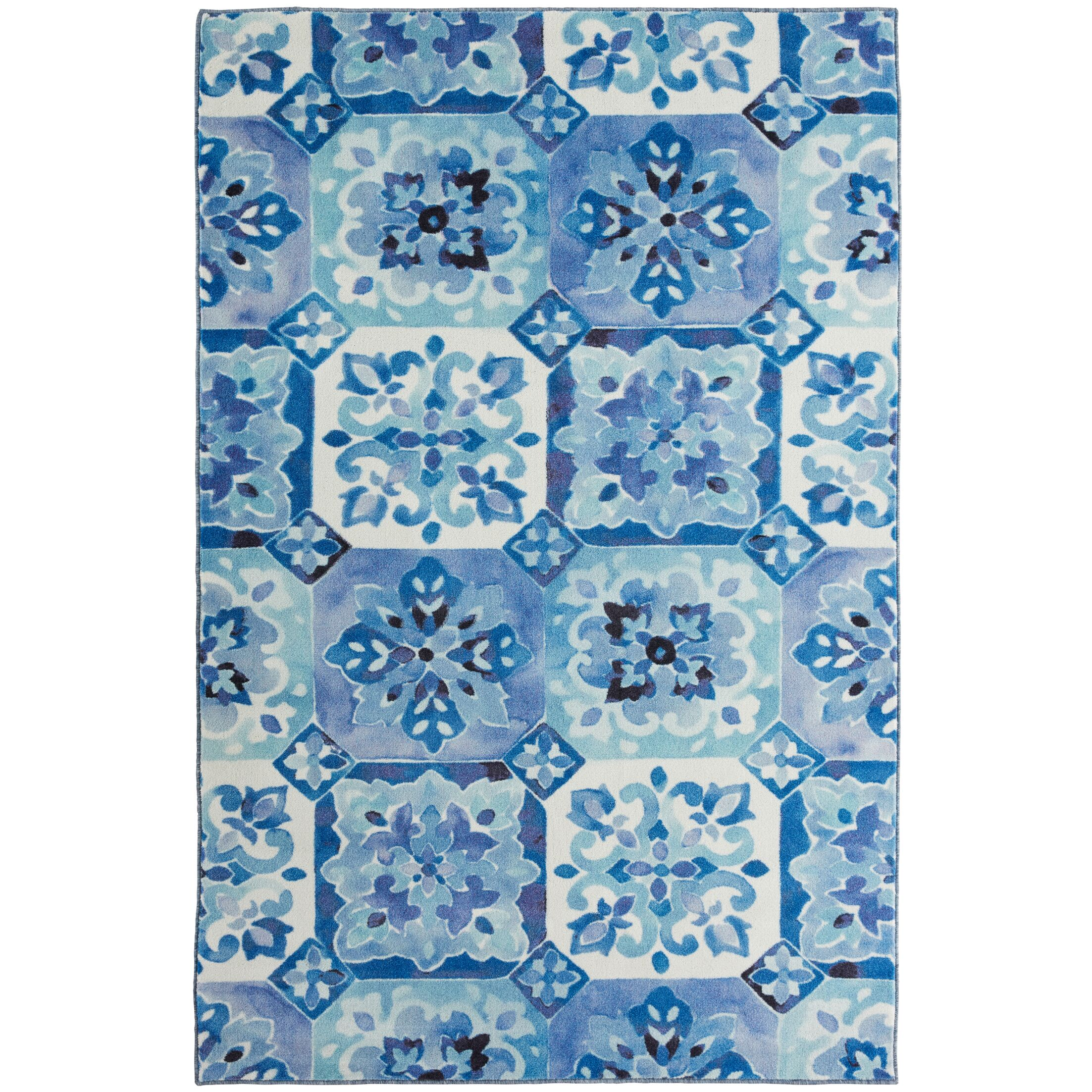 Amblewood Painted Tile Blue/White Area Rug Rug Size: Rectangle 5' x 8'