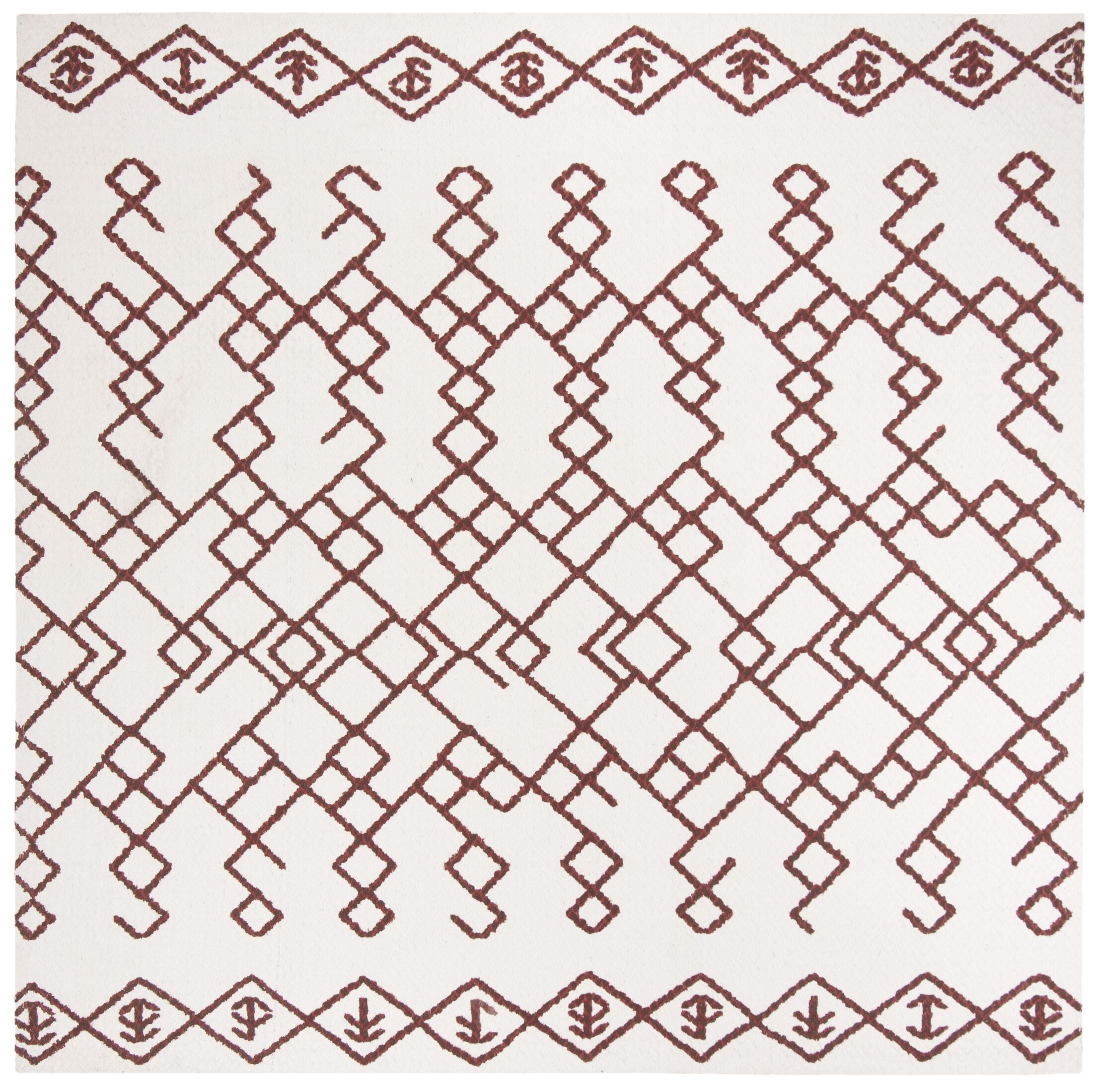 Owen Hand-Loomed Cotton Ivory Area Rug Rug Size: Square 6'