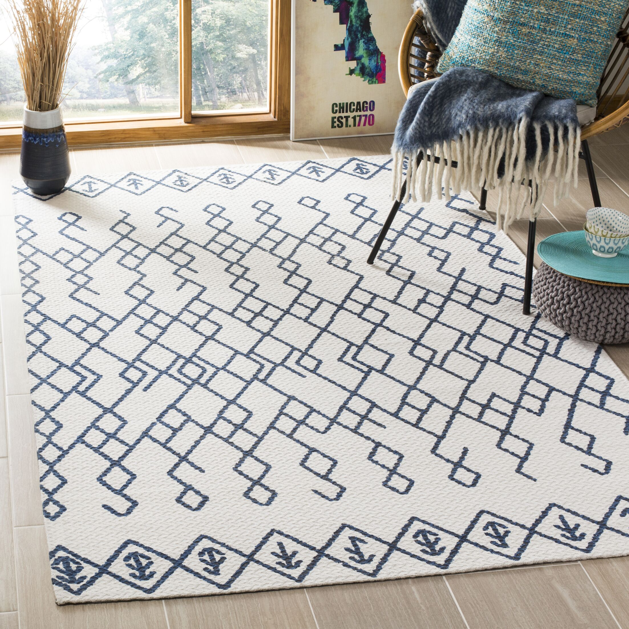 Owen Hand-Loomed Cotton Ivory Area Rug Rug Size: Rectangle 6' x 9'