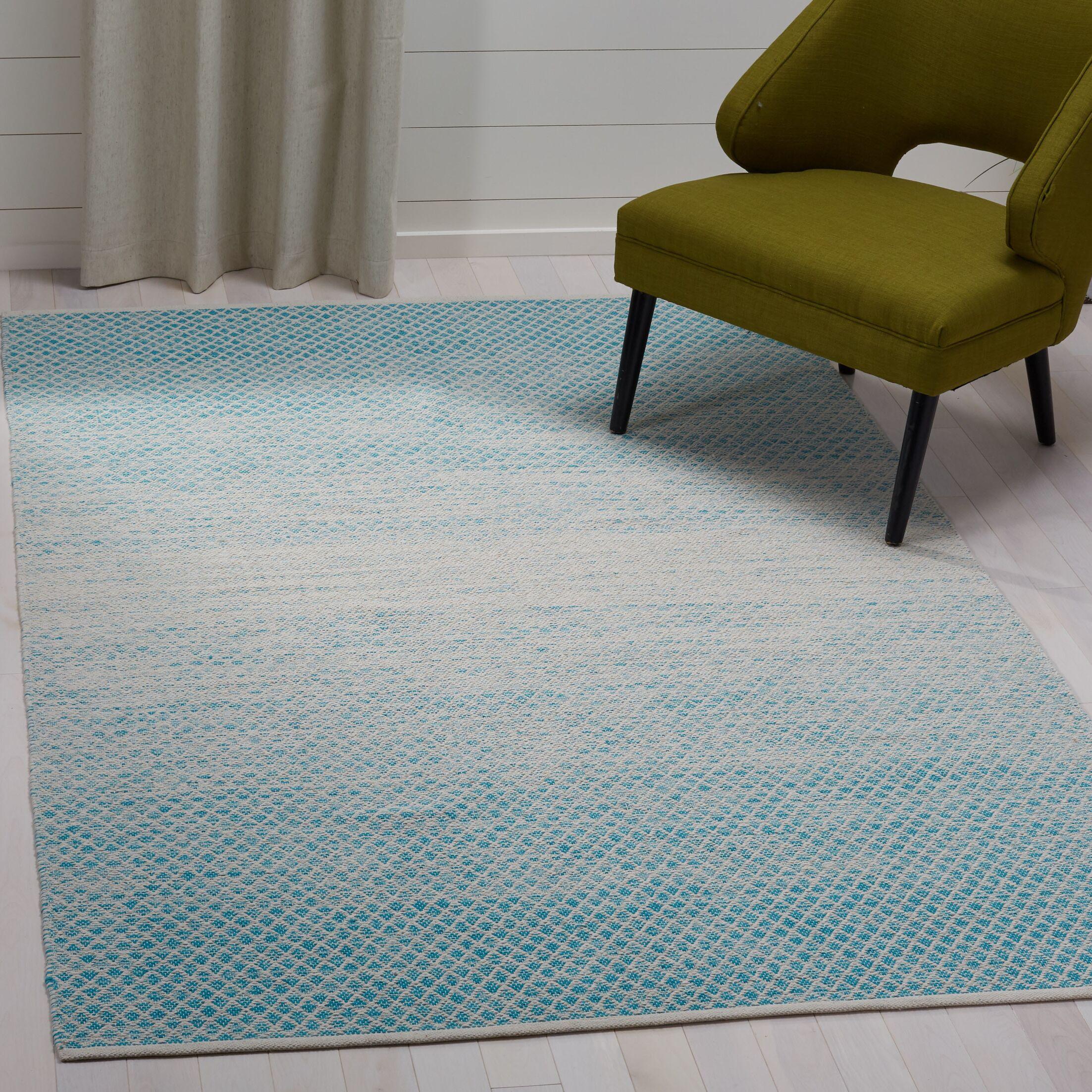 Saleem Hand-Woven Turquoise/Ivory Area Rug Rug Size: Rectangle 5' x 8'