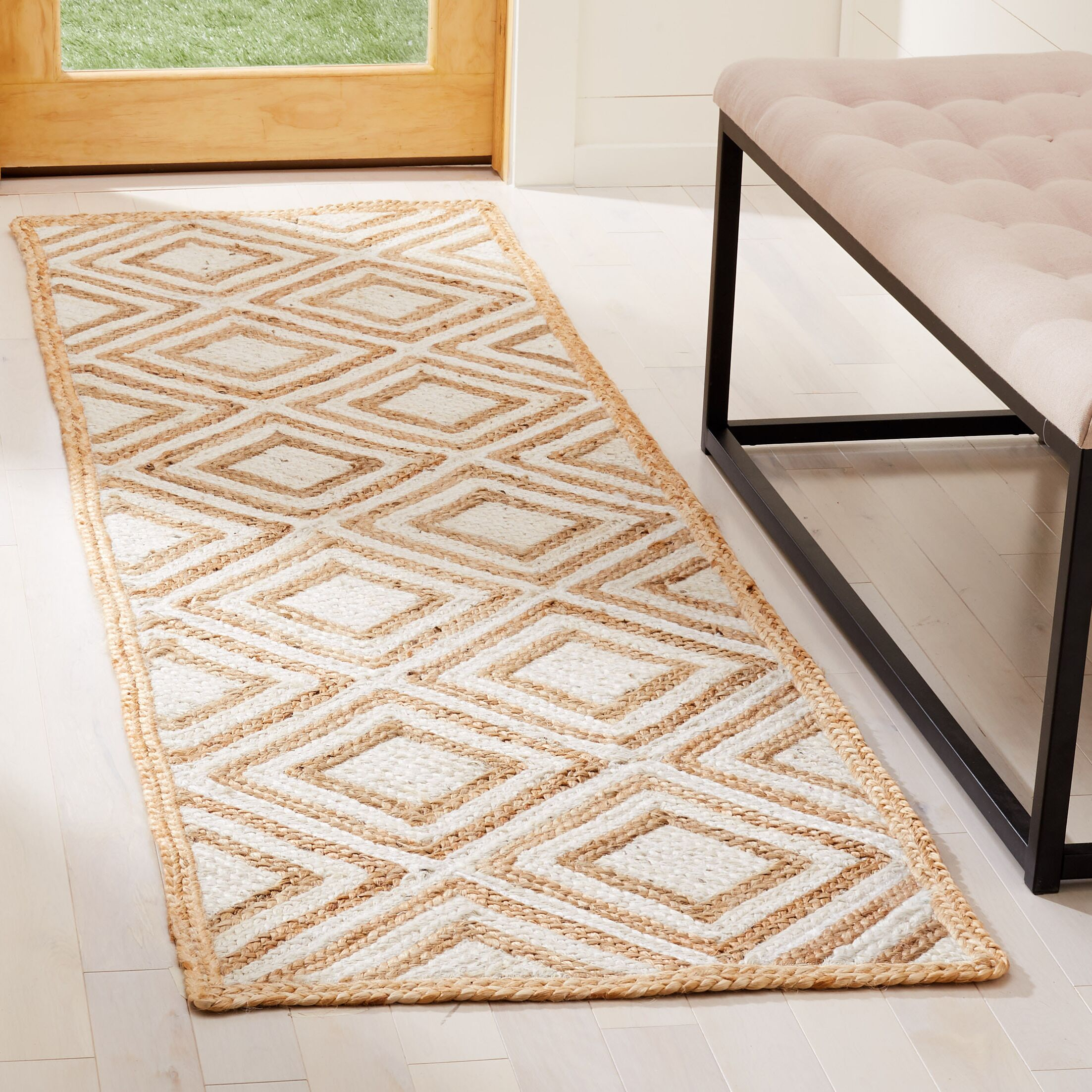 Abhay Contemporary Hand Woven Beige/White Area Rug Rug Size: Runner 2'3