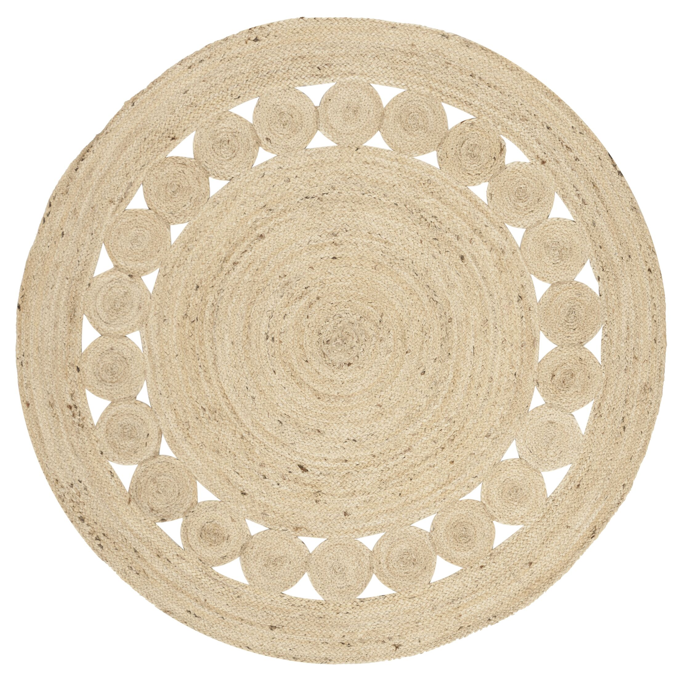 Venessa Hand-Woven Ivory Area Rug Rug Size: Round 6'