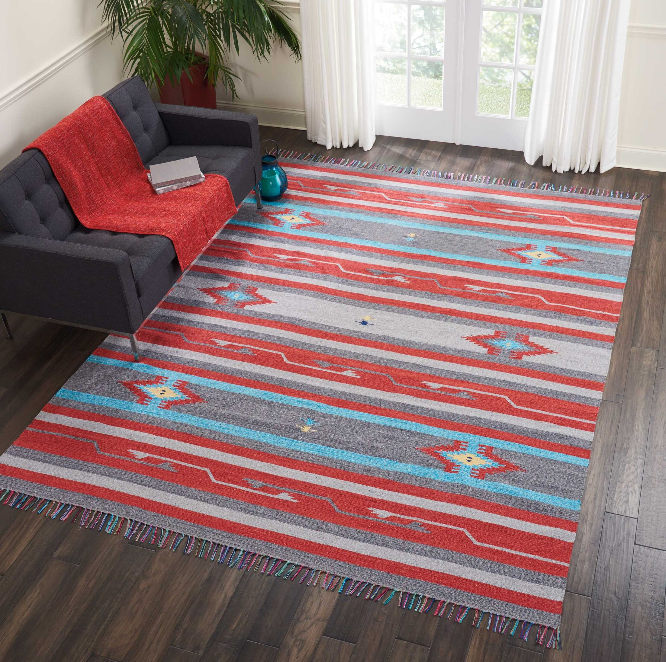 Rocky Hand Woven Gray/Red Area Rug Rug Size: Rectangle 5' x 7'
