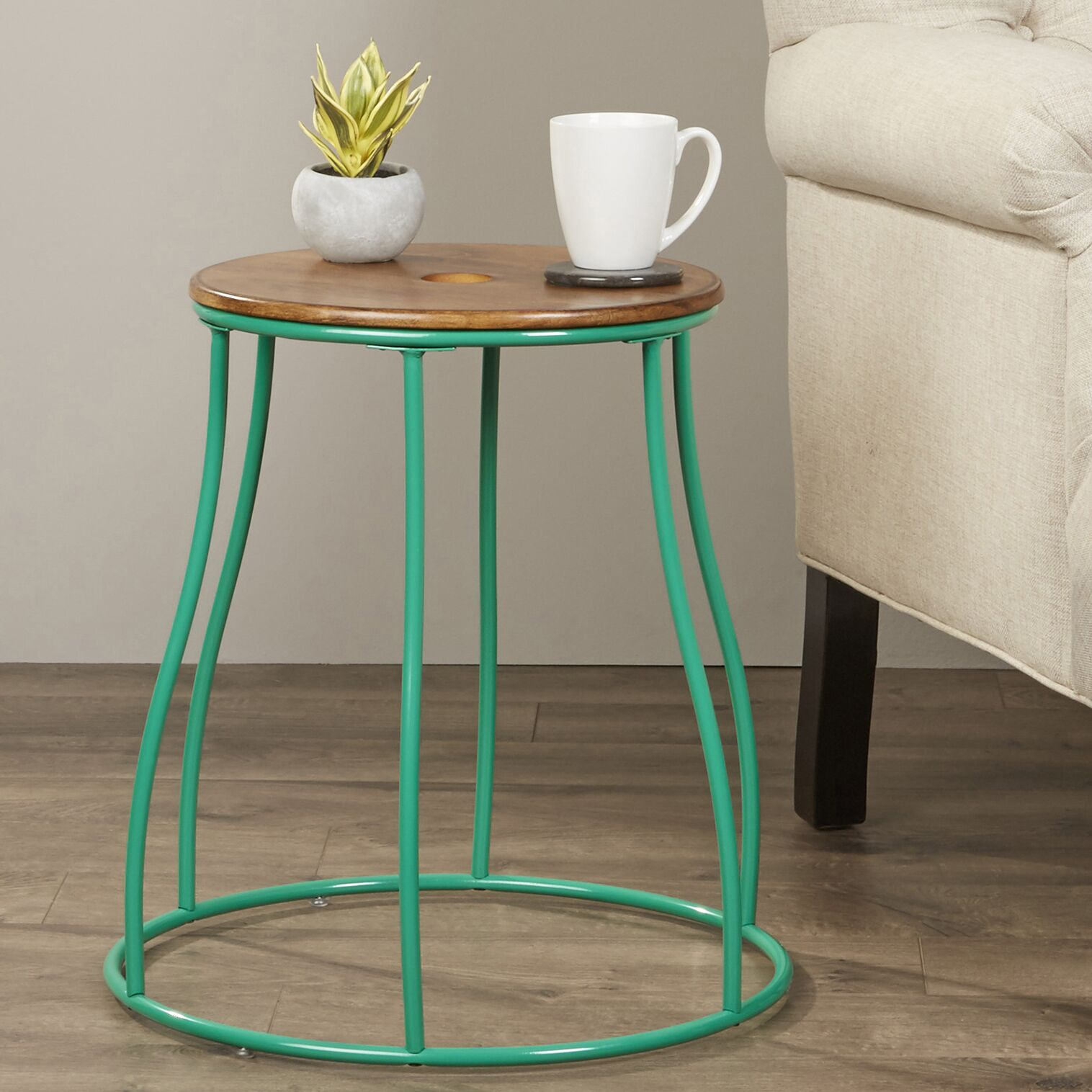Wales End Table Color: Green