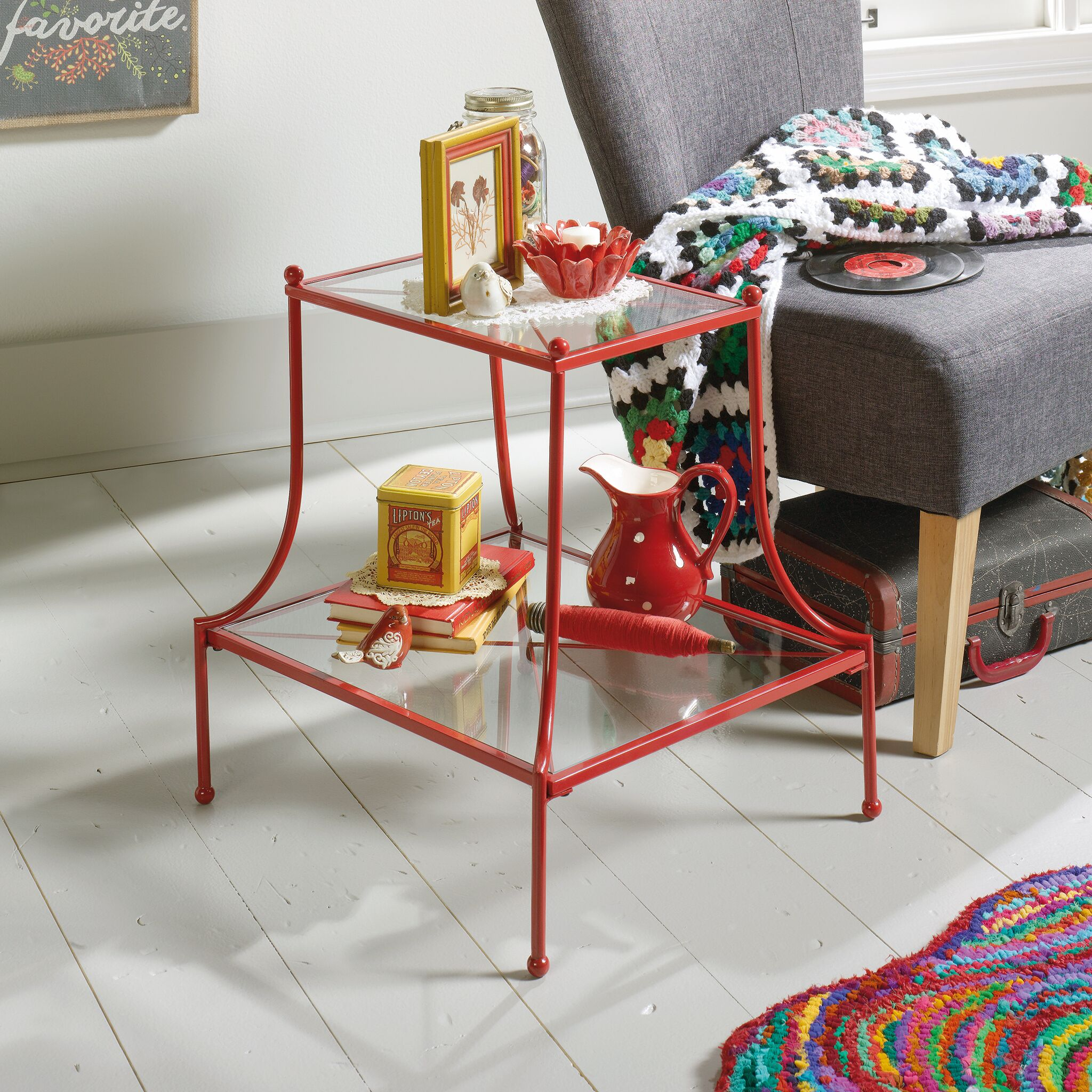 Byram End Table Color: Red