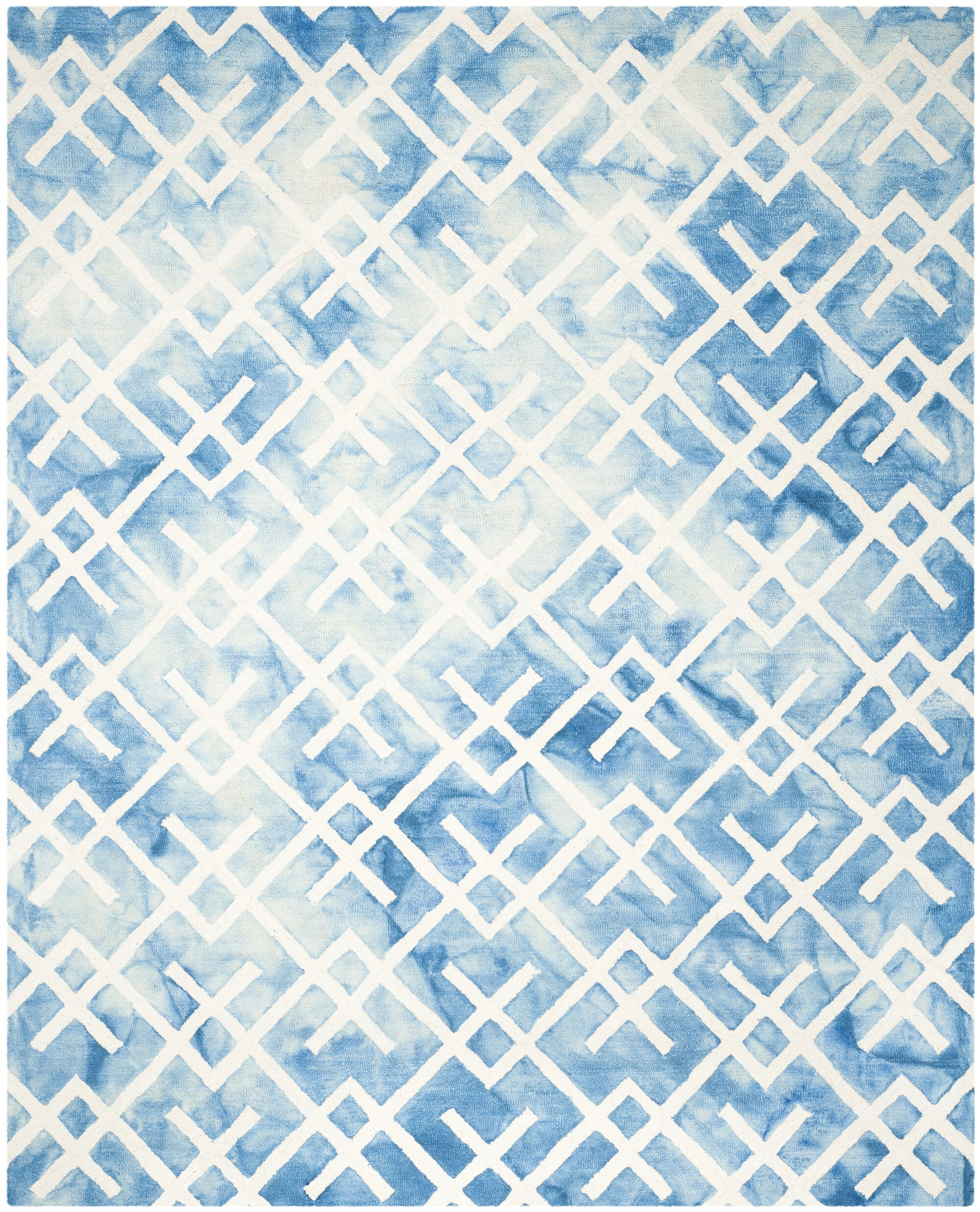 Castries Hand-Tufted Blue/Ivory Area Rug Rug Size: Rectangle 8' x 10'