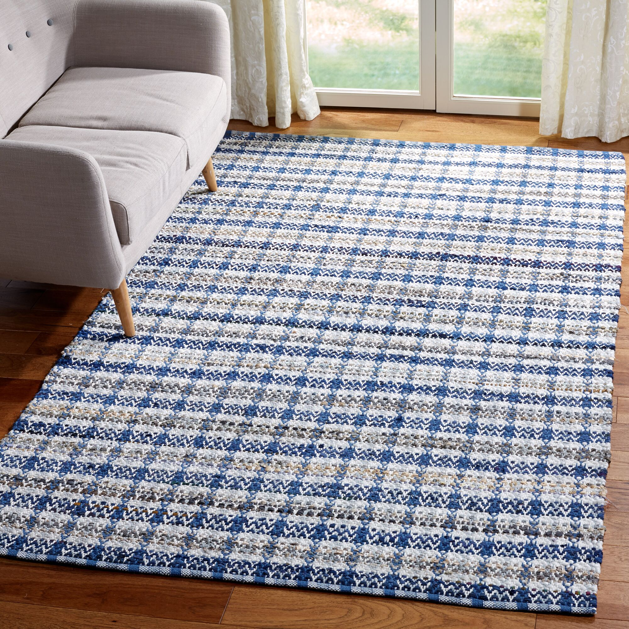 Bester Hand-Woven Cotton Blue/White Area Rug Rug Size: Rectangular 8' x 10'
