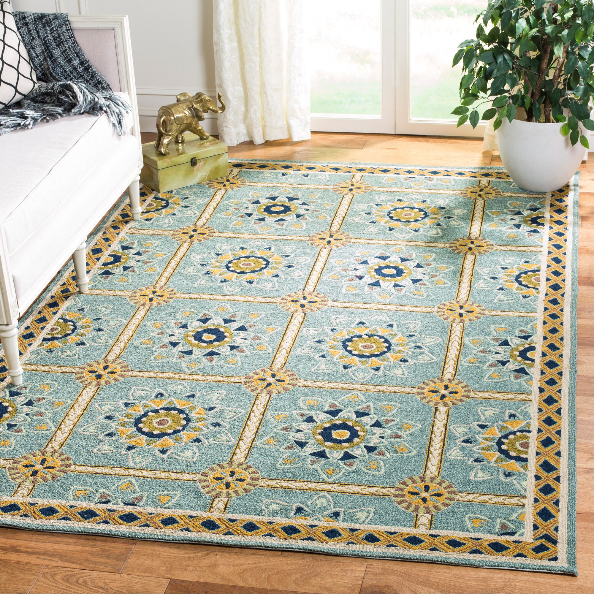 Istanbul Hand-Hooked Light Blue/Dark Blue Area Rug Rug Size: Rectangle 6' x 9'