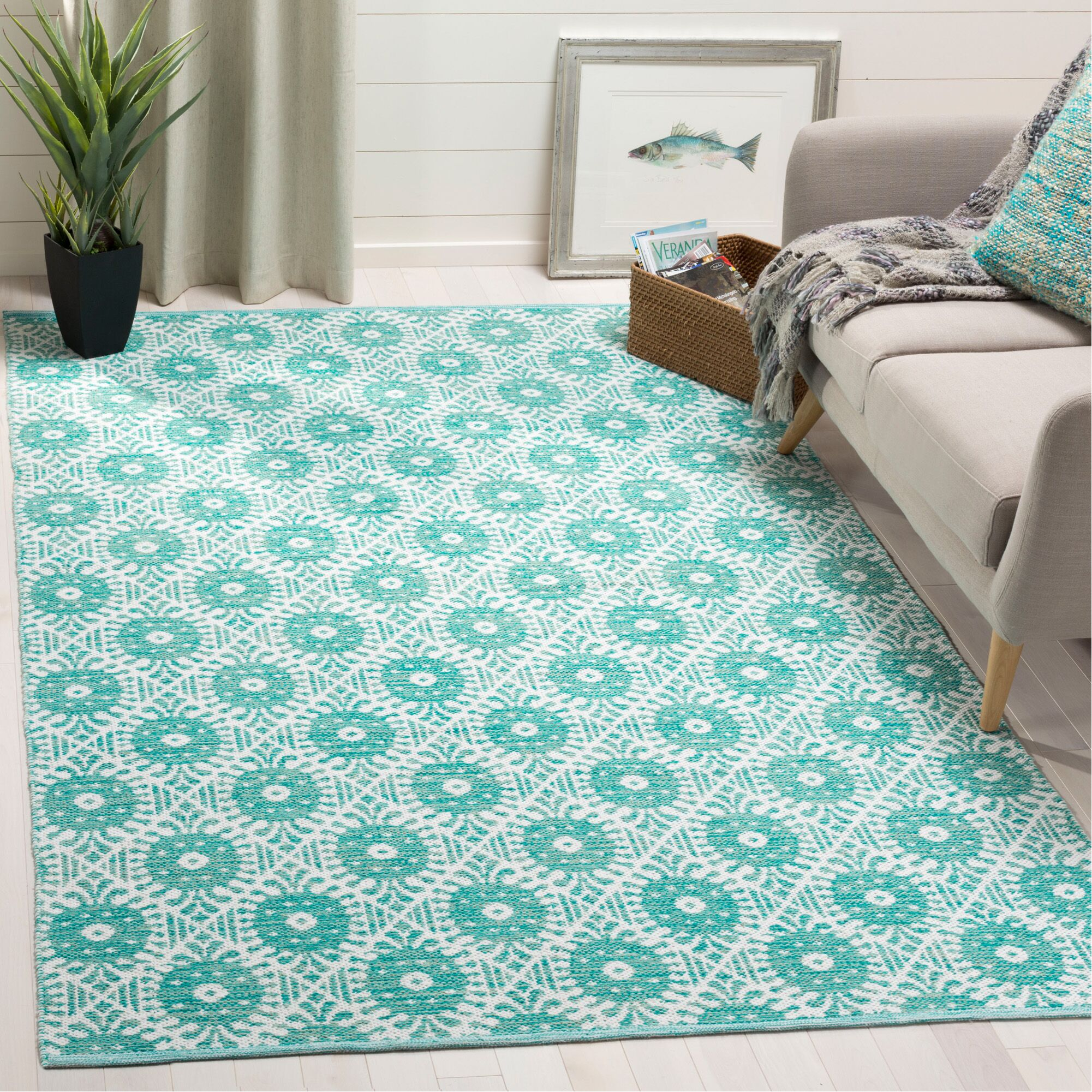 Clemence Hand-Woven Aqua/Ivory Area Rug Rug Size: Rectangle 5' x 8'