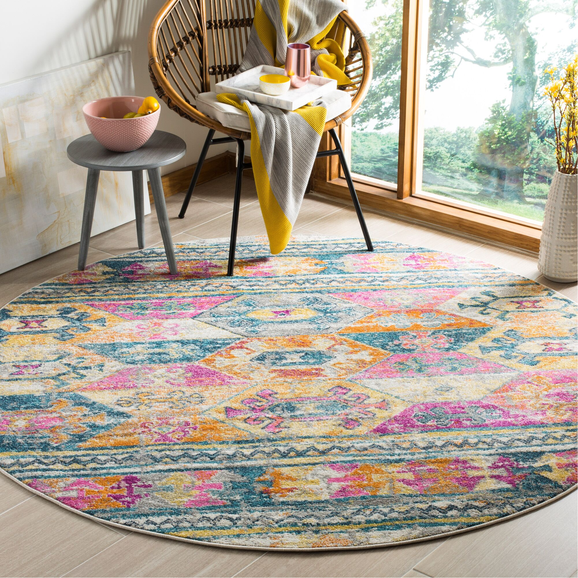 Esparza Pink Area Rug Rug Size: Round 6'7