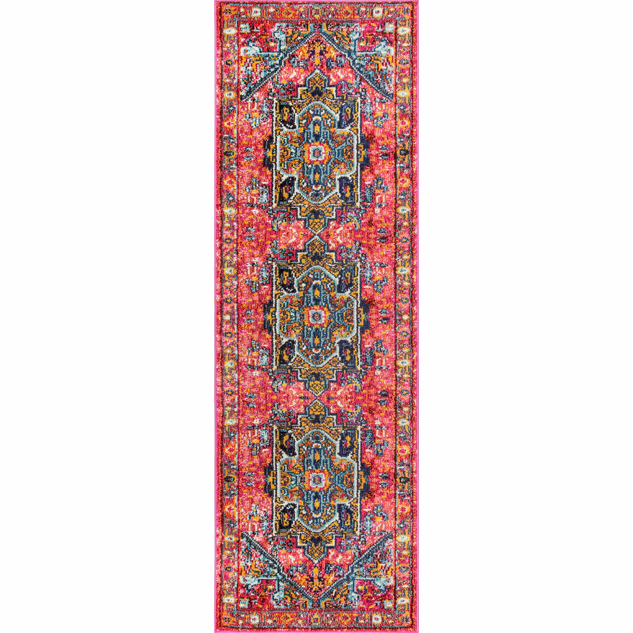 Daria Pink/Red Area Rug Rug Size: Runner 2'6