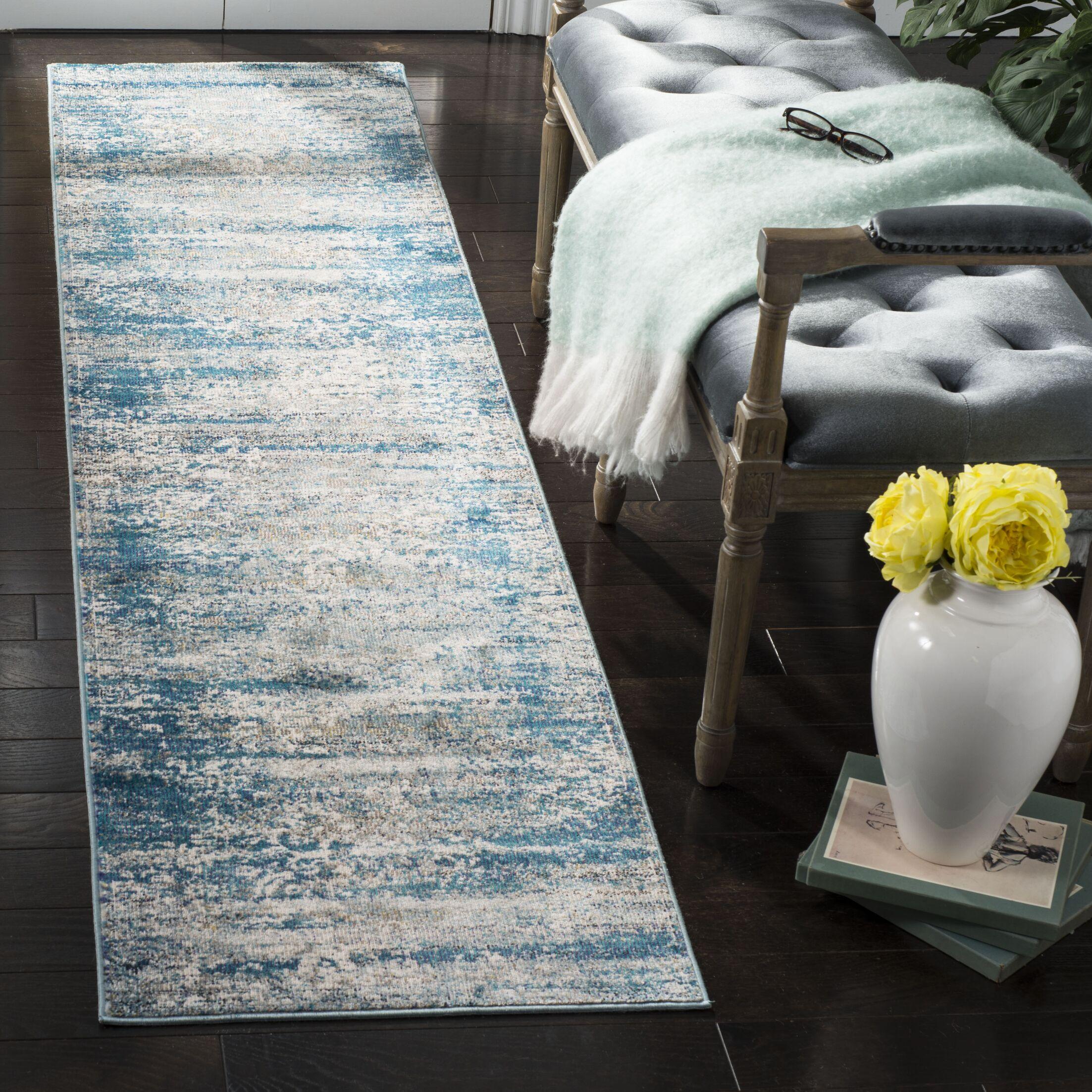 Monserrat Blue Area Rug Rug Size: Runner 2' x 8'