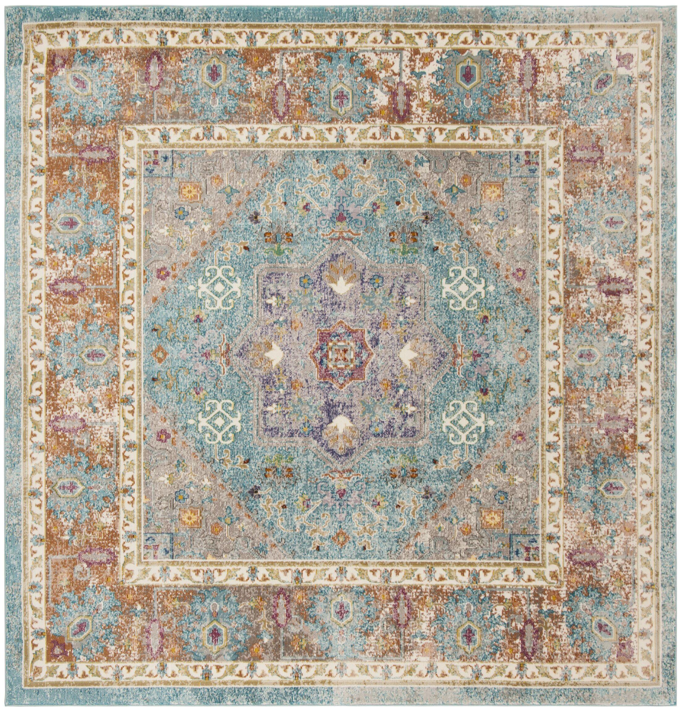 Monserrat Blue Area Rug Rug Size: Square 6'7