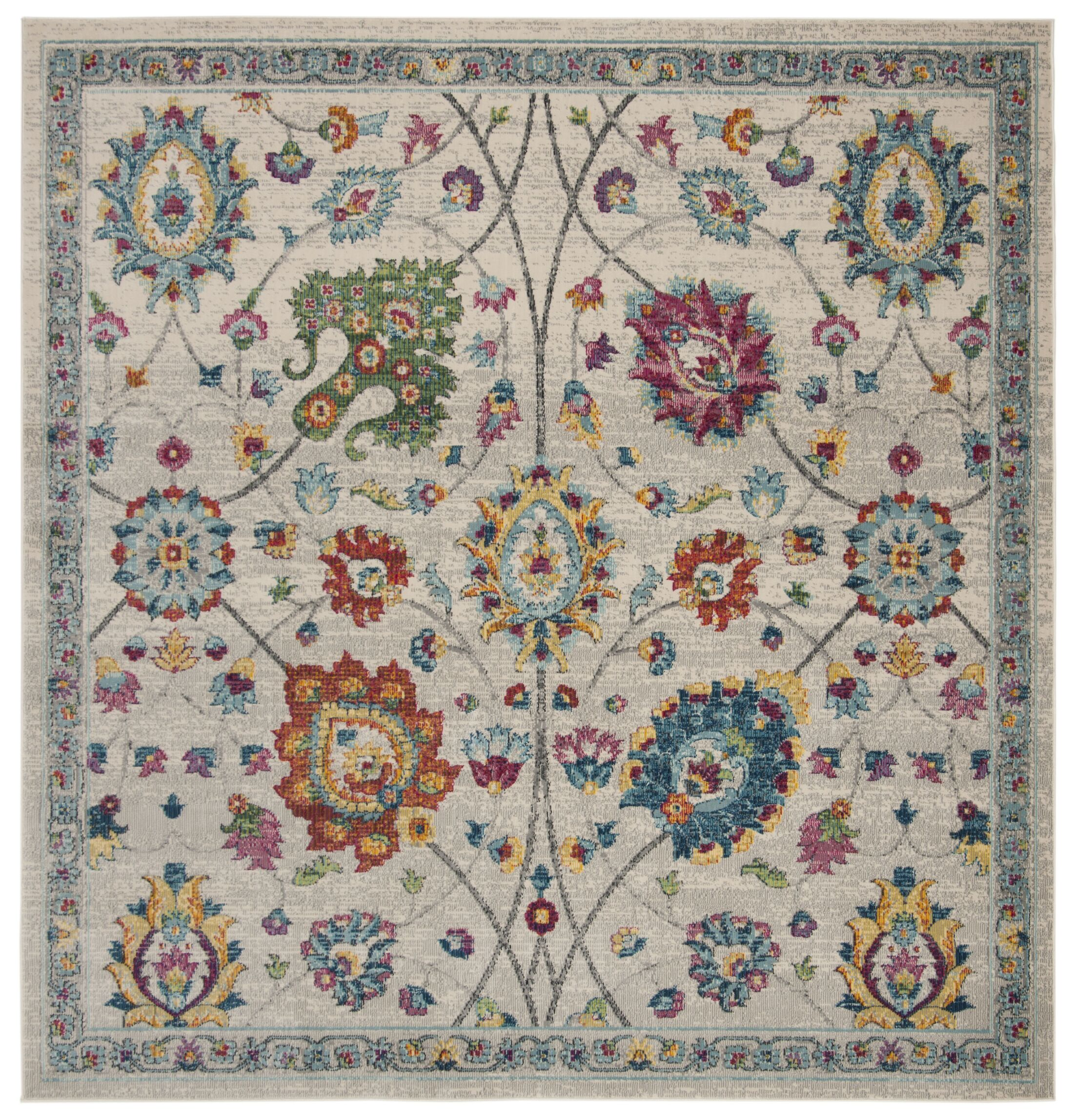 Doucet Cream/Pink Area Rug Rug Size: Square 6'7