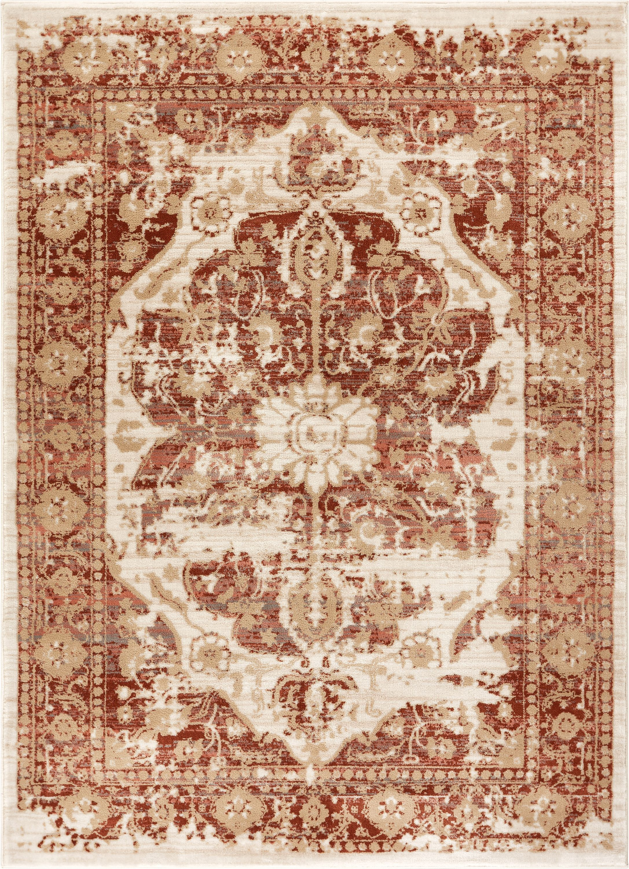 Aya Distressed Medallion Copper Area Rug Rug Size: Runner 2'7