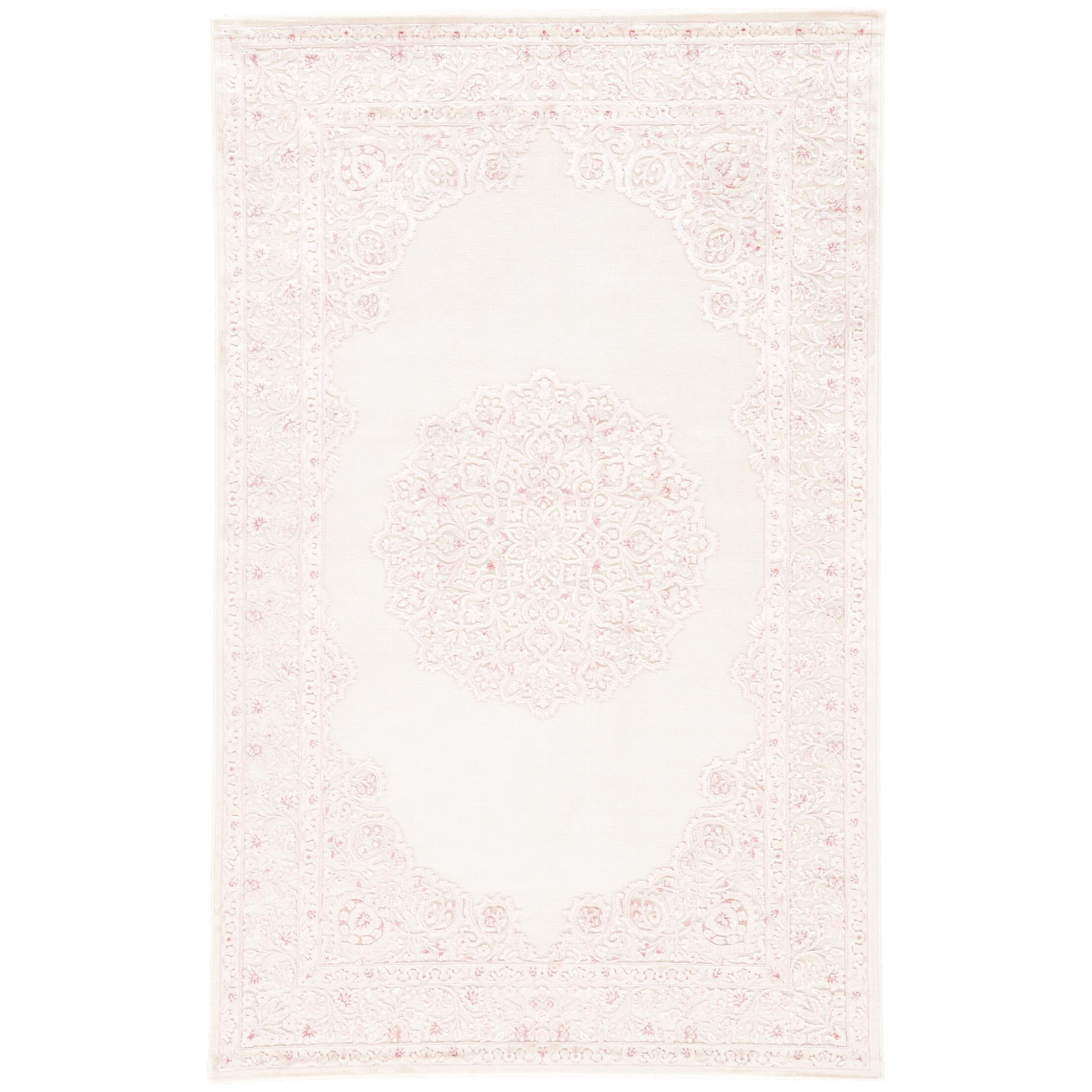 Fontanne Machine-Woven Chenille Ivory/Baby Pink Area Rug Rug Size: Runner 2'6