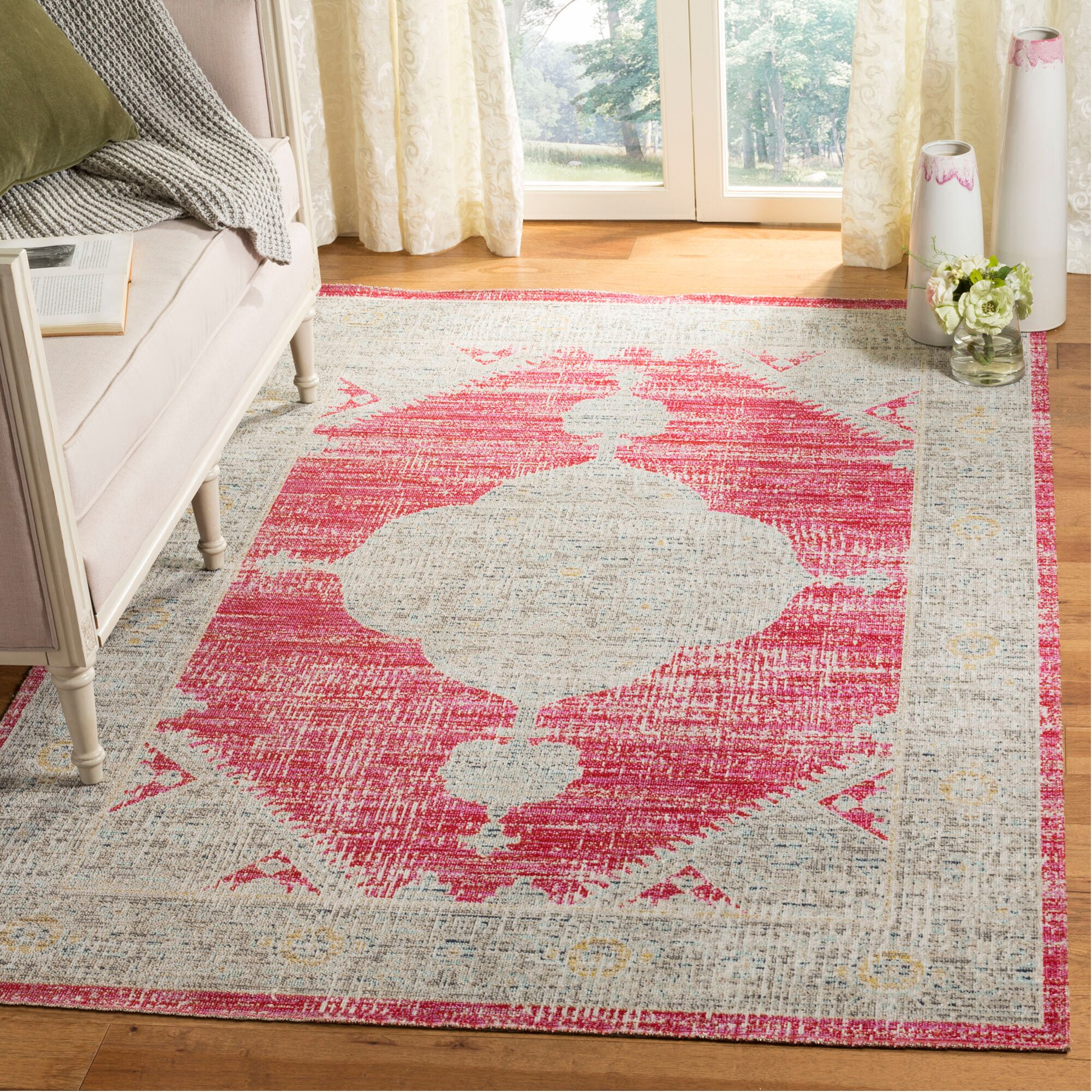 Griffeth Rose/Gray Indoor/Outdoor Area Rug Rug Size: Rectangle 9' x 12'