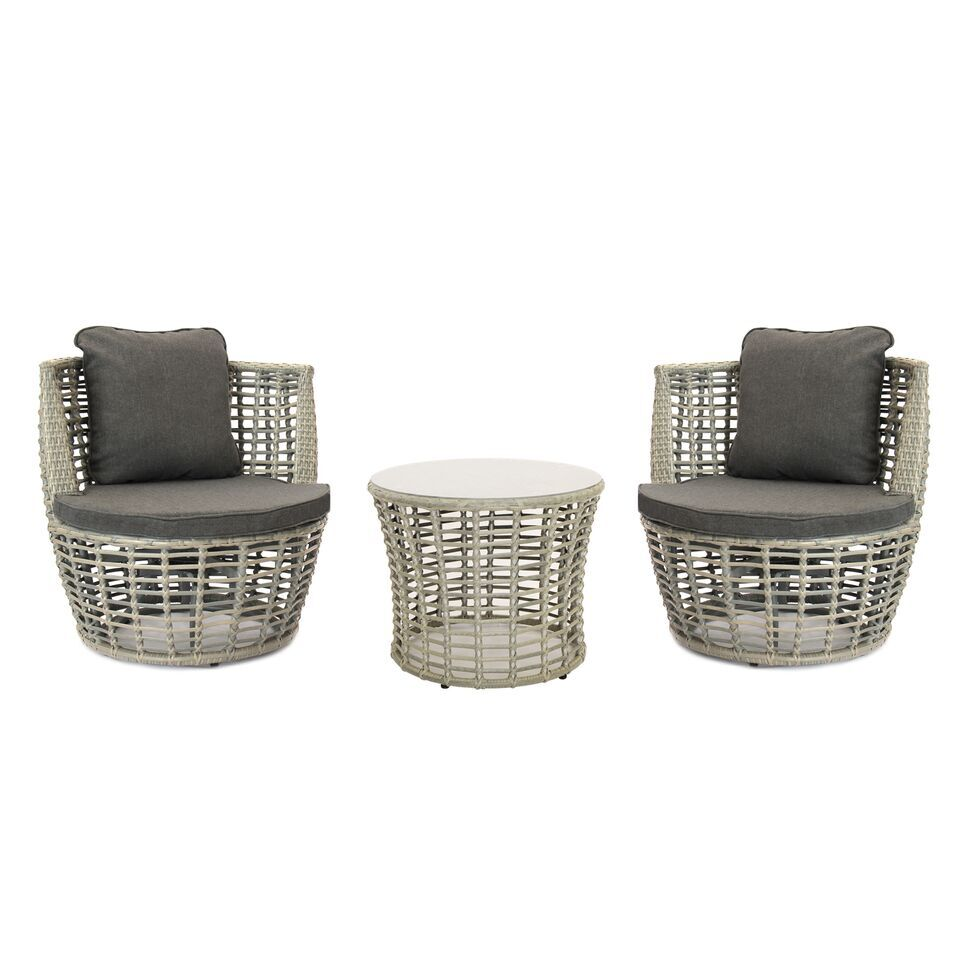 Padula Outdoor Complete 3 Piece 2 Person Seating Group Cushion Color: Gray