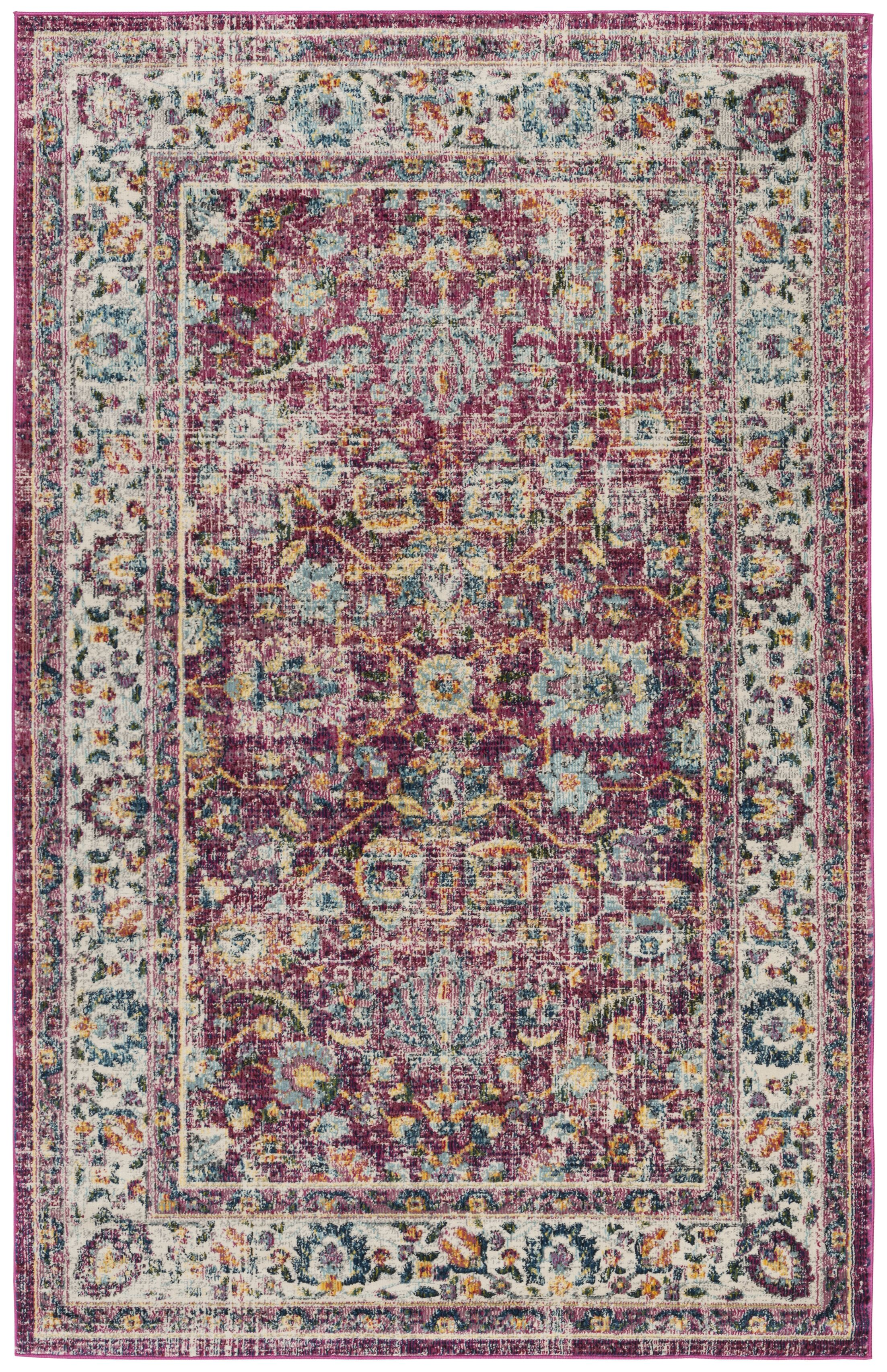 Doucet Red/Gray Area Rug Rug Size: Rectangle 4' x 6'
