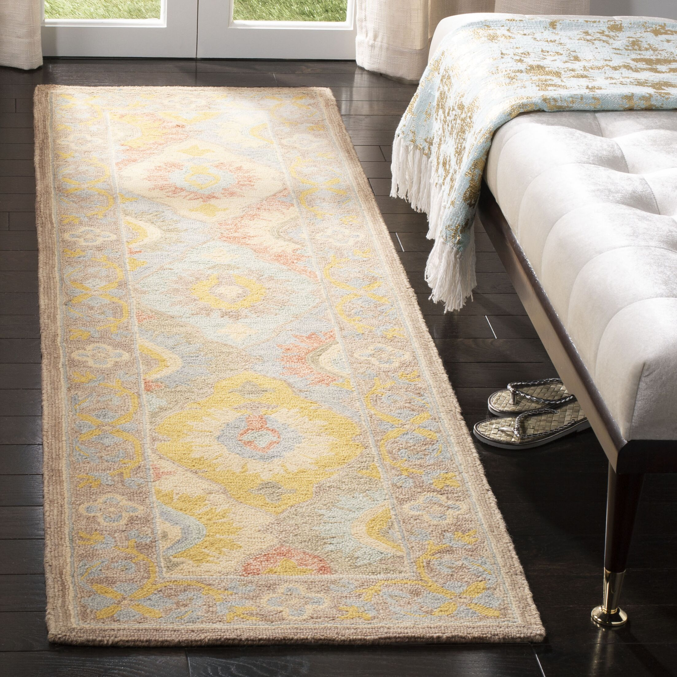 Talmo Hand Hooked Wool Ivory Area Rug Rug Size: Runner 2'3