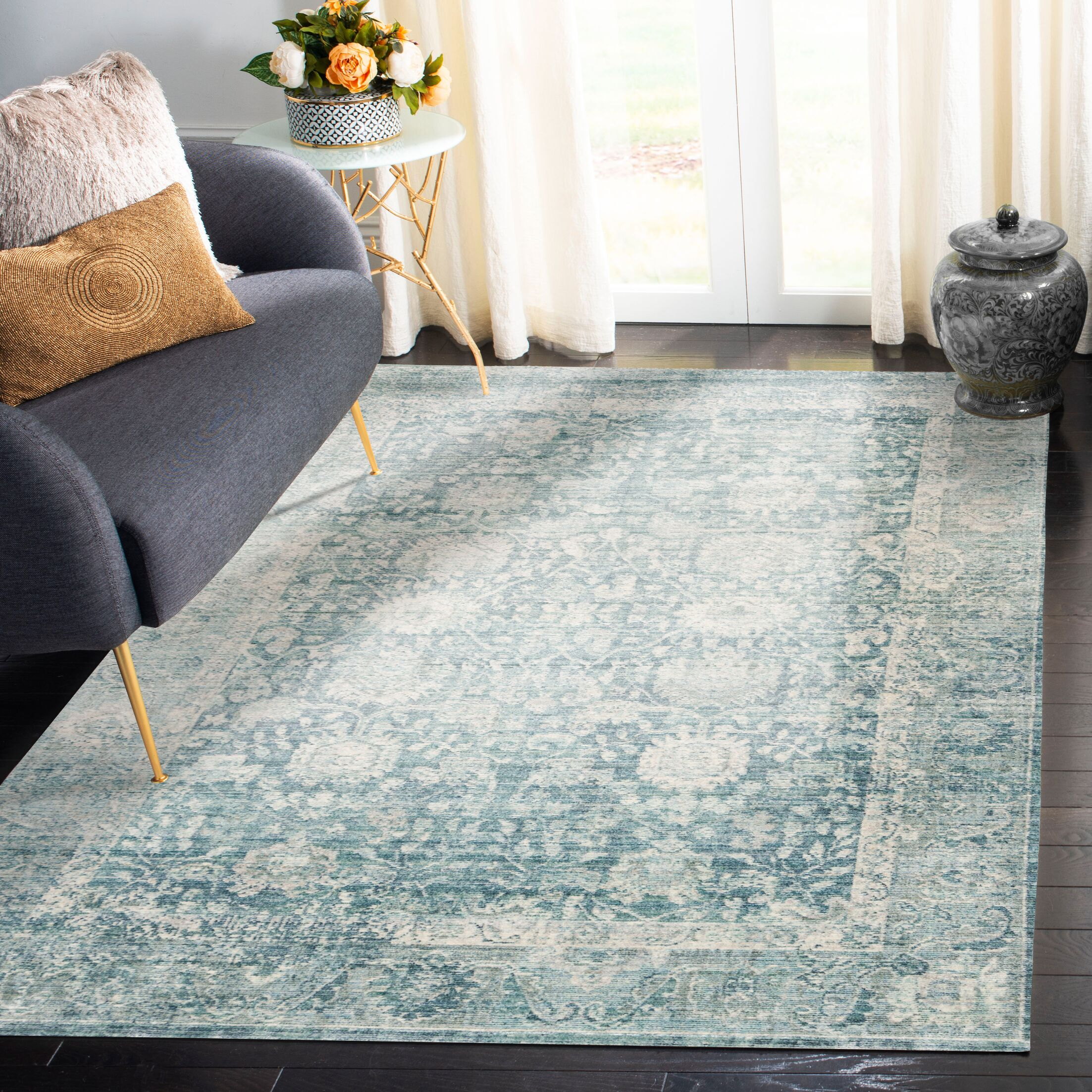 Soren Blue/Ivory Area Rug Rug Size: Rectangle 5' X 8'
