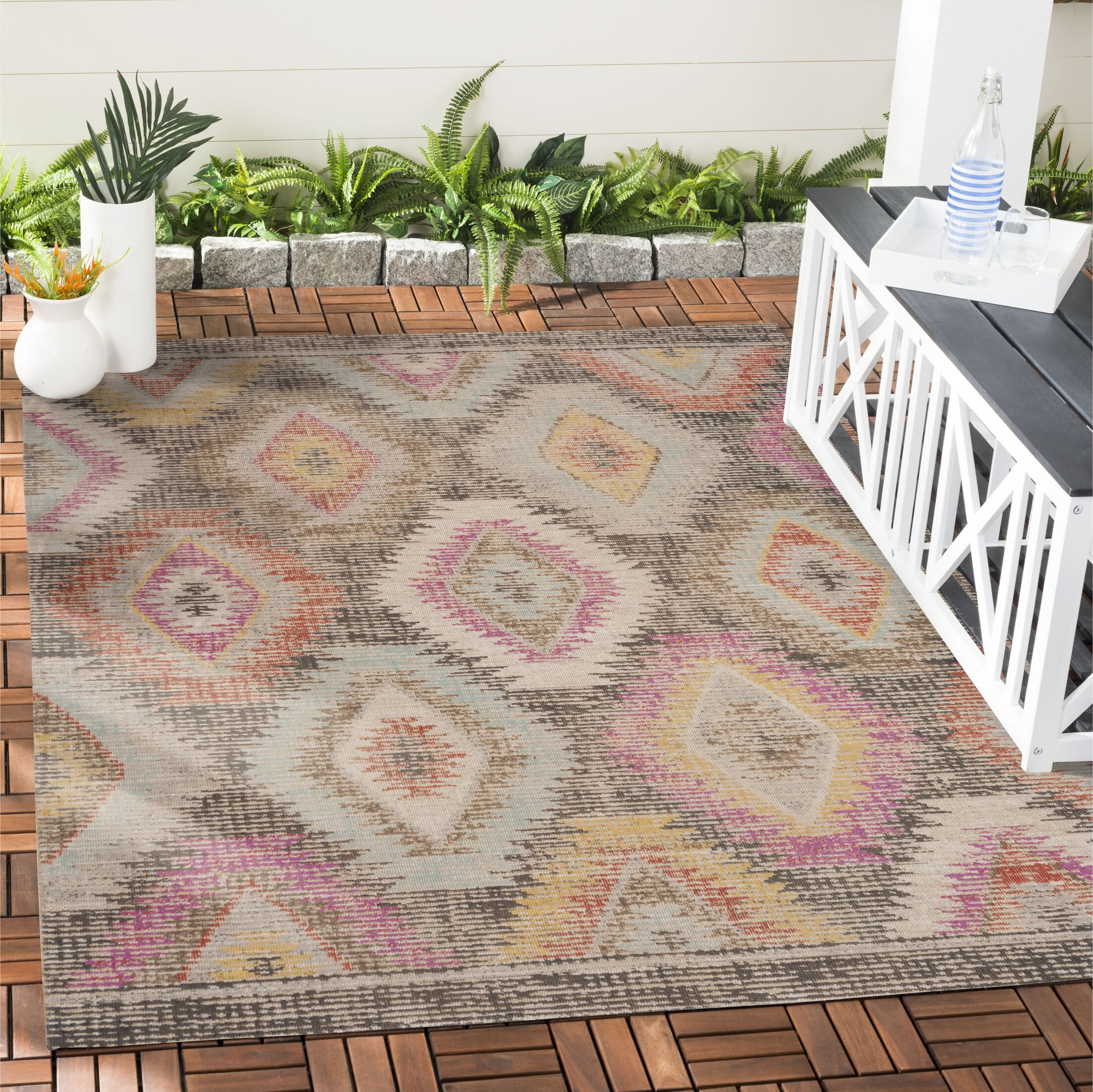 Griffeth Gray Indoor/Outdoor Area Rug Rug Size: Rectangle 9' x 12'