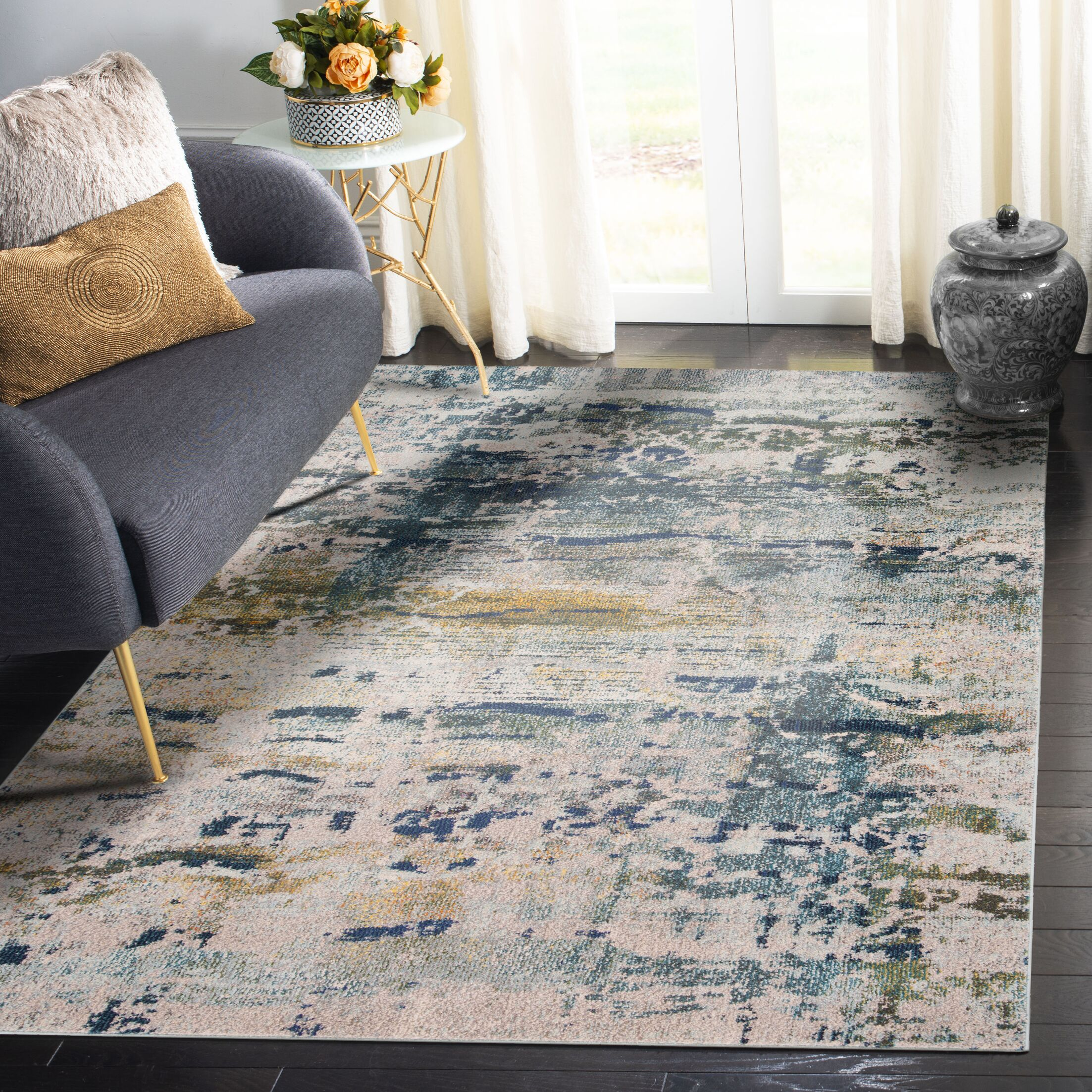 Arianna Blue/Gray Area Rug Rug Size: Rectangle 9' x 12'