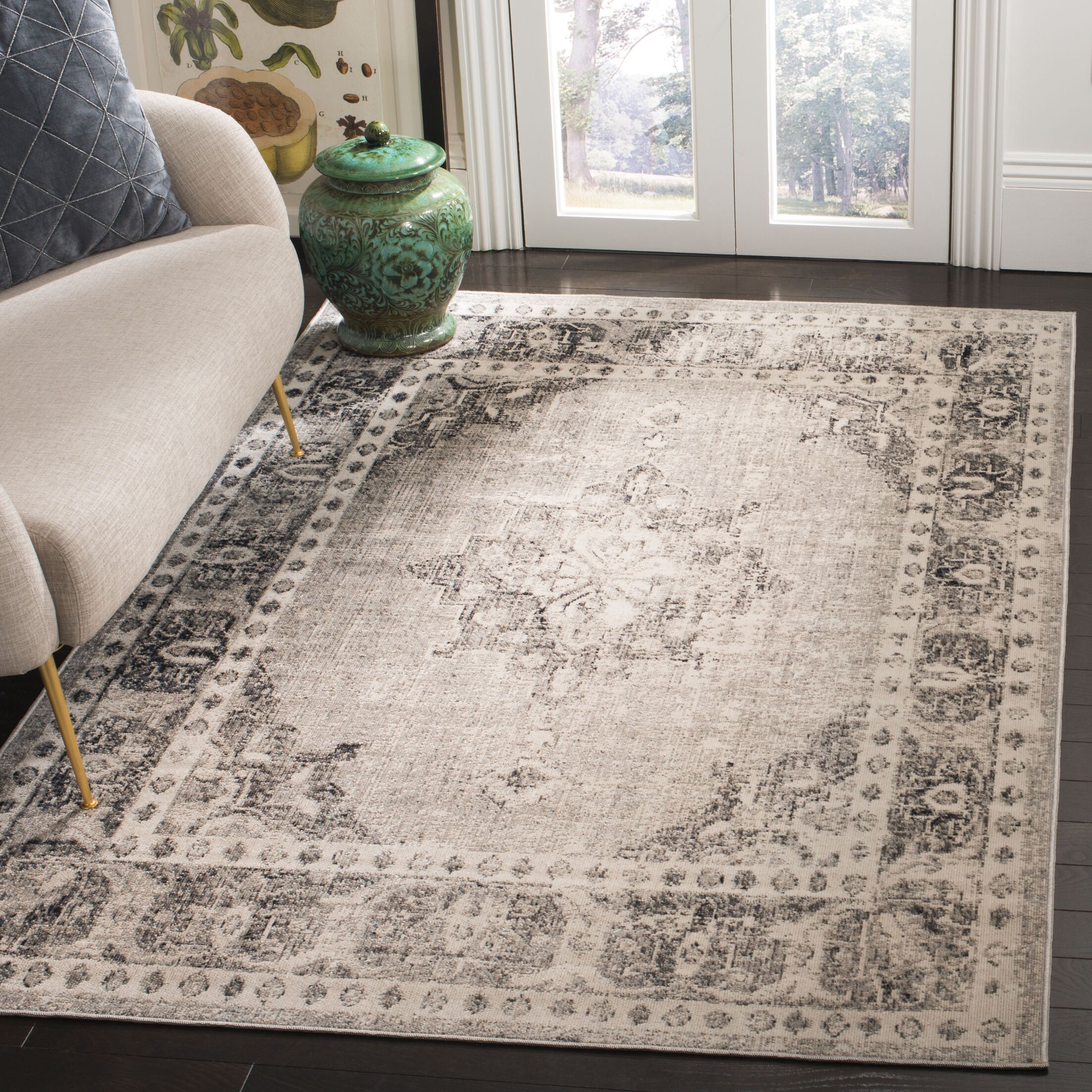 Griffeth Gray/Ivory Indoor/Outdoor Area Rug Rug Size: Rectangle 4' x 6'