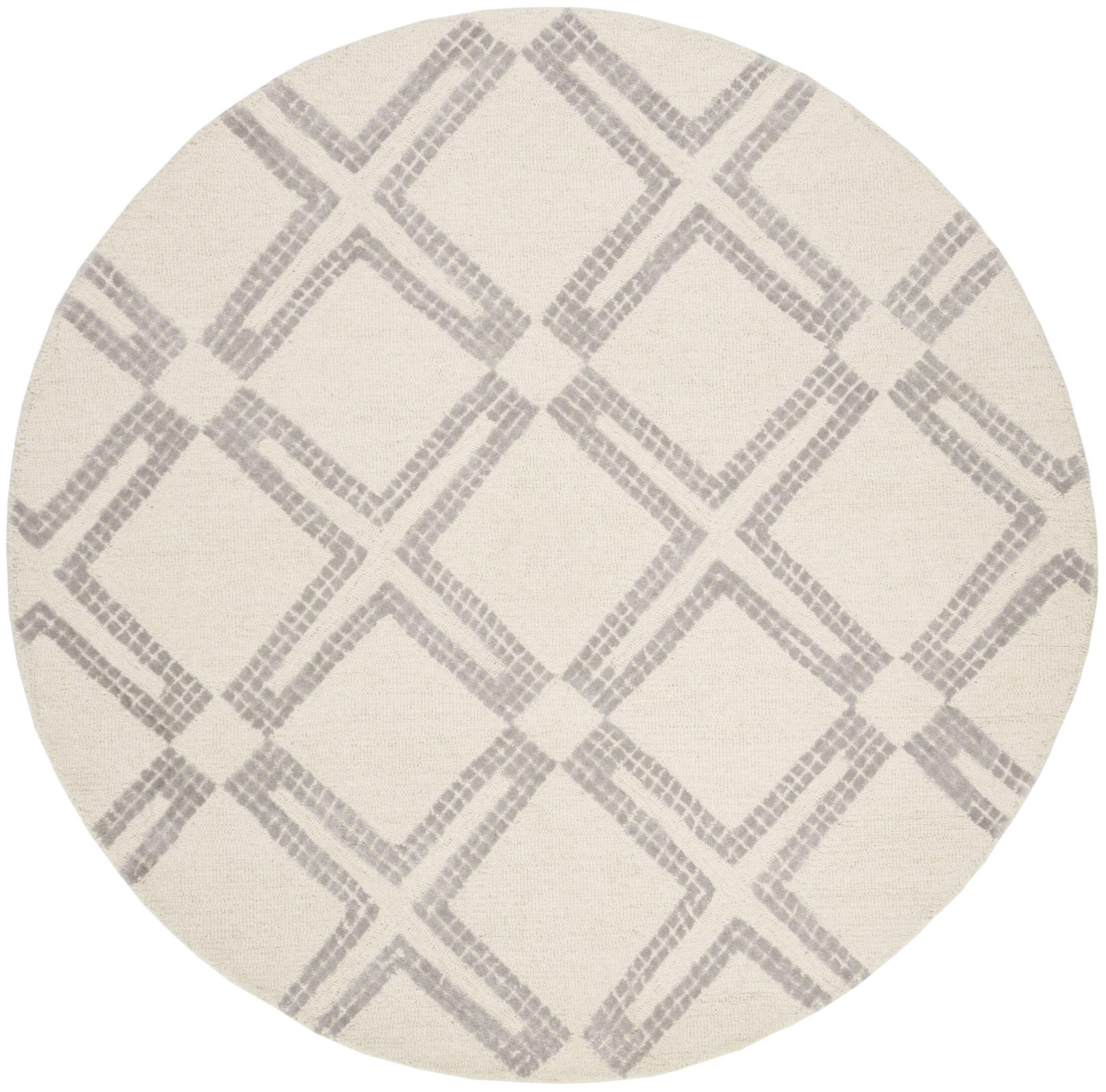 Blokzijl Hand-Tufted Ivory/Silver Area Rug Rug Size: Round 5'