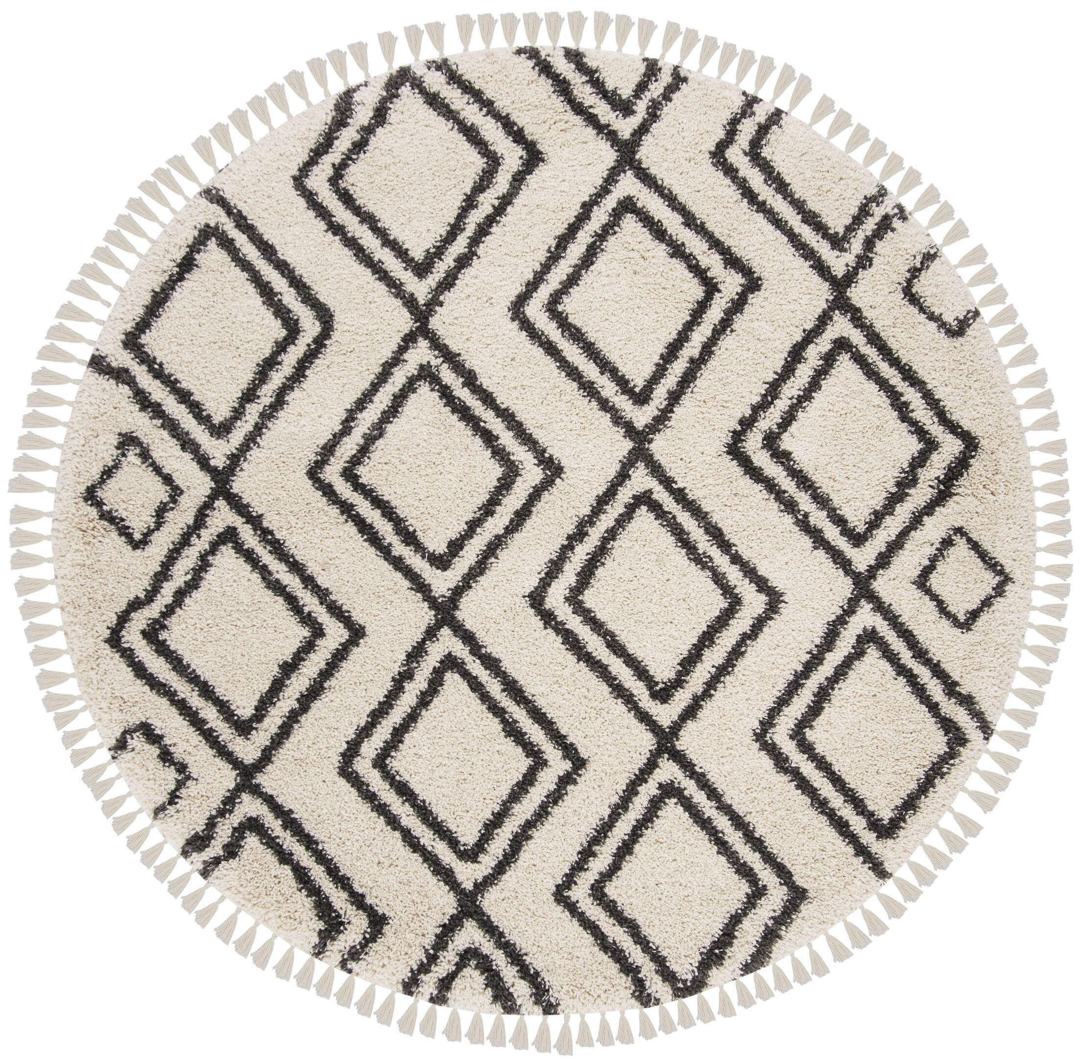 Morgan Black/Beige Area Rug Rug Size: Round 6'7