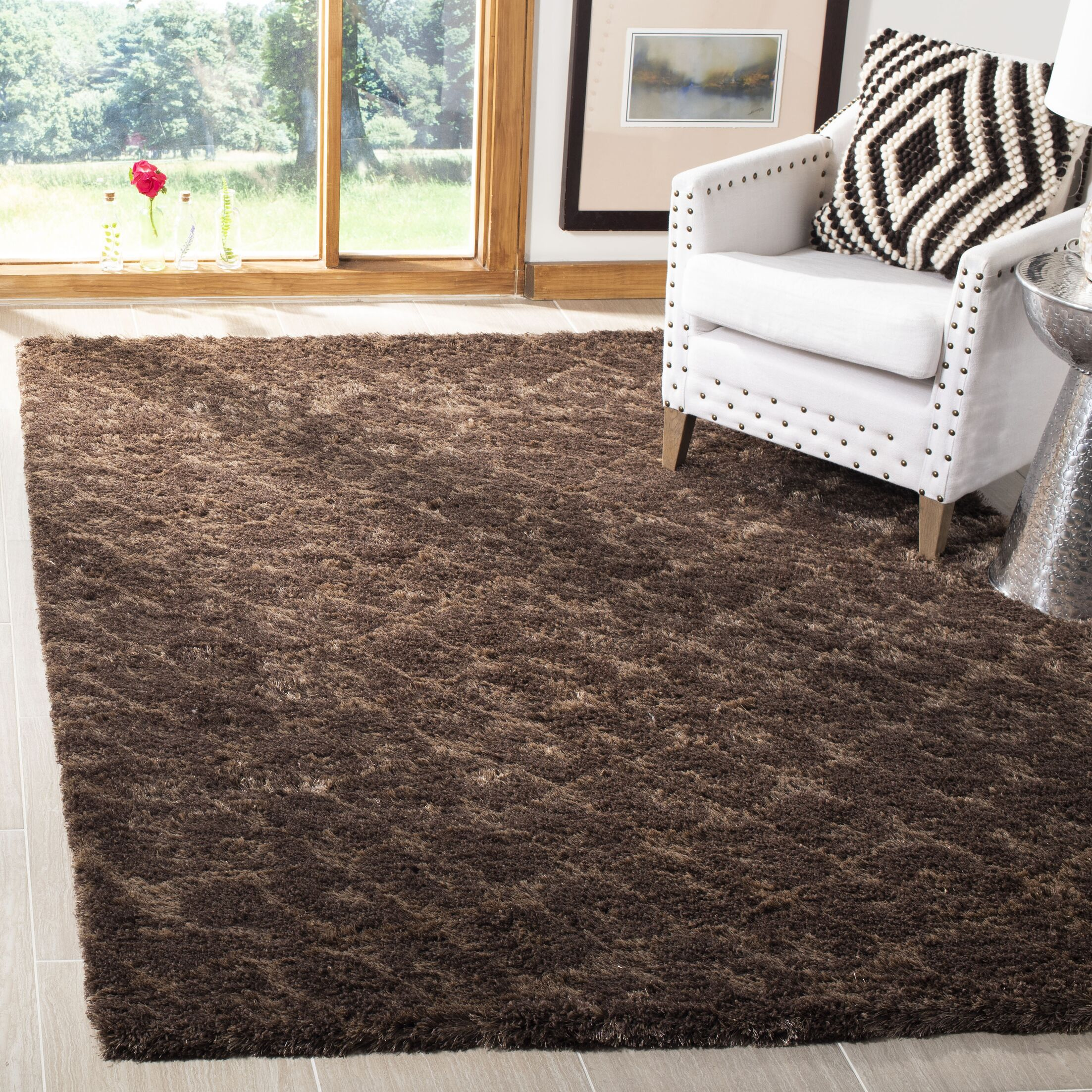 Maimouna Dark Brown Area Rug Rug Size: Rectangle 5'3