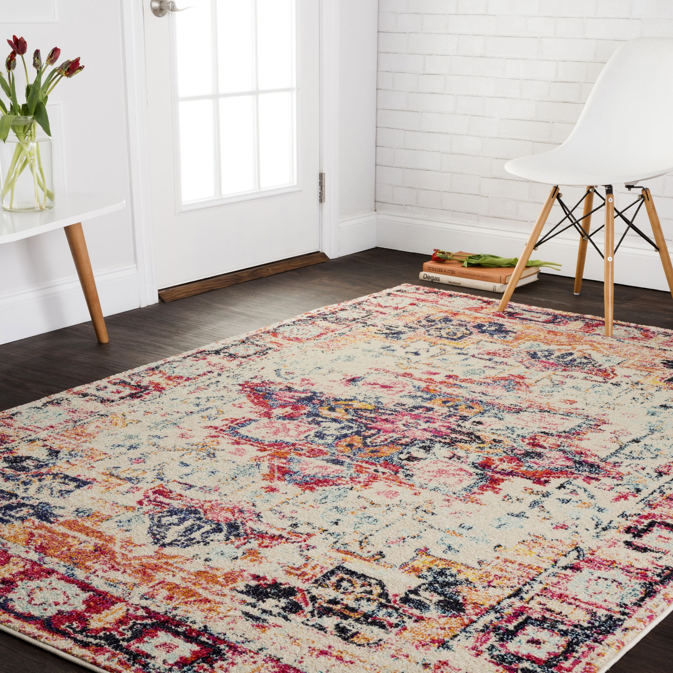 Lorenz Ivory/Red Area Rug Rug Size: Rectangle 8' x 11'