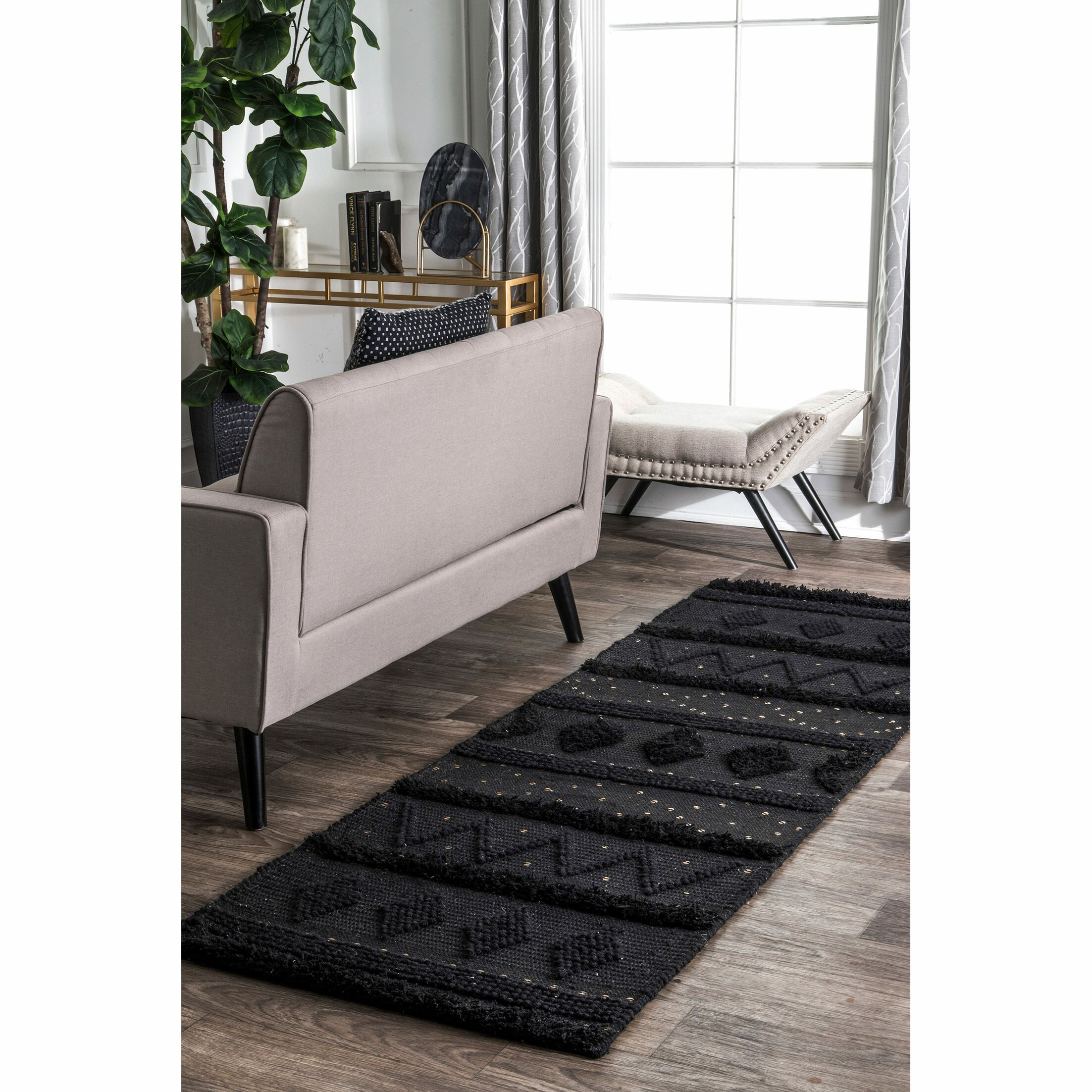 Caverly Hand-Woven Wool Black Area Rug Rug Size: Rectangle 6' x 9'