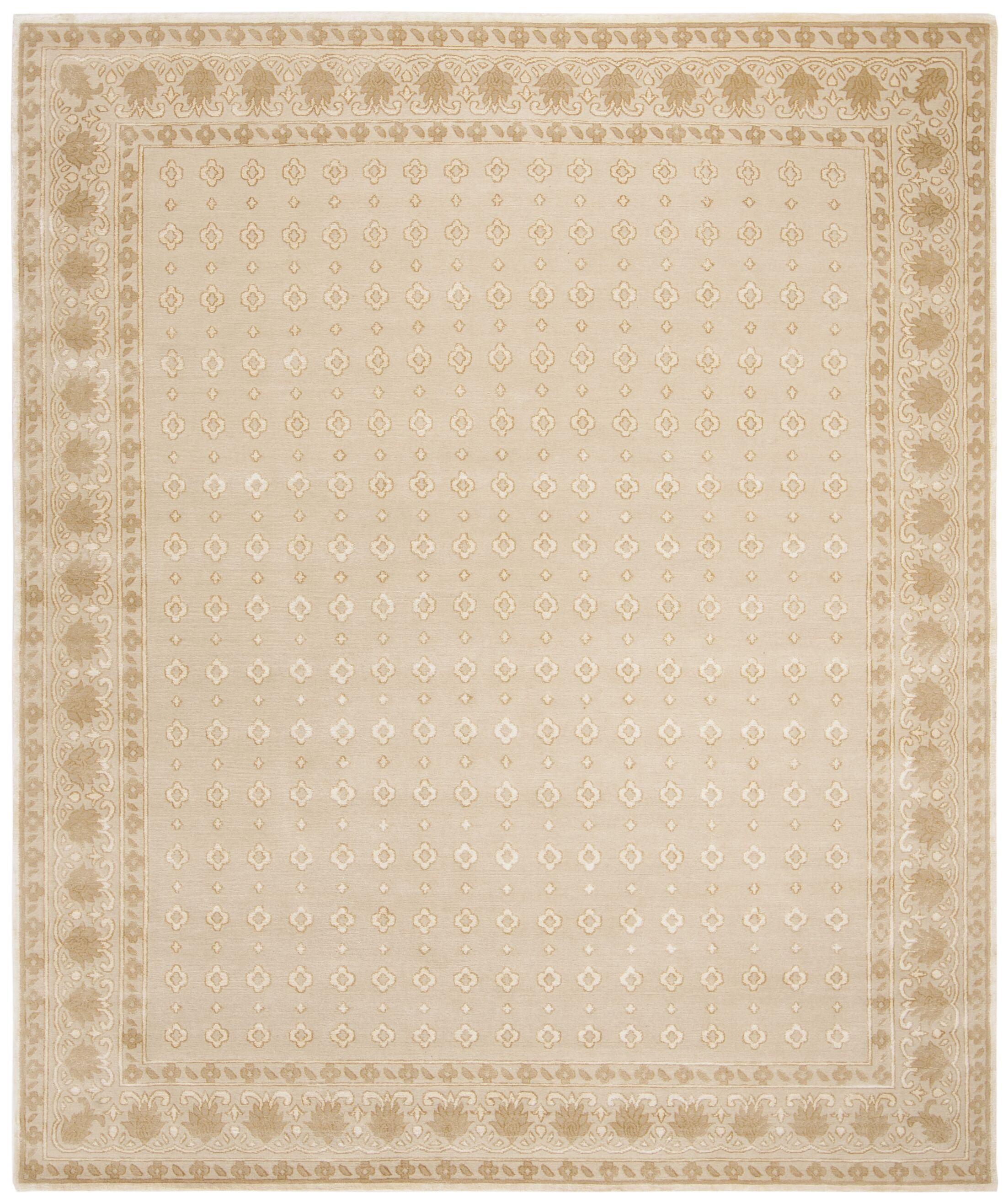 Berta Hand-Knotted Cream Area Rug Rug Size: 8' x 10'