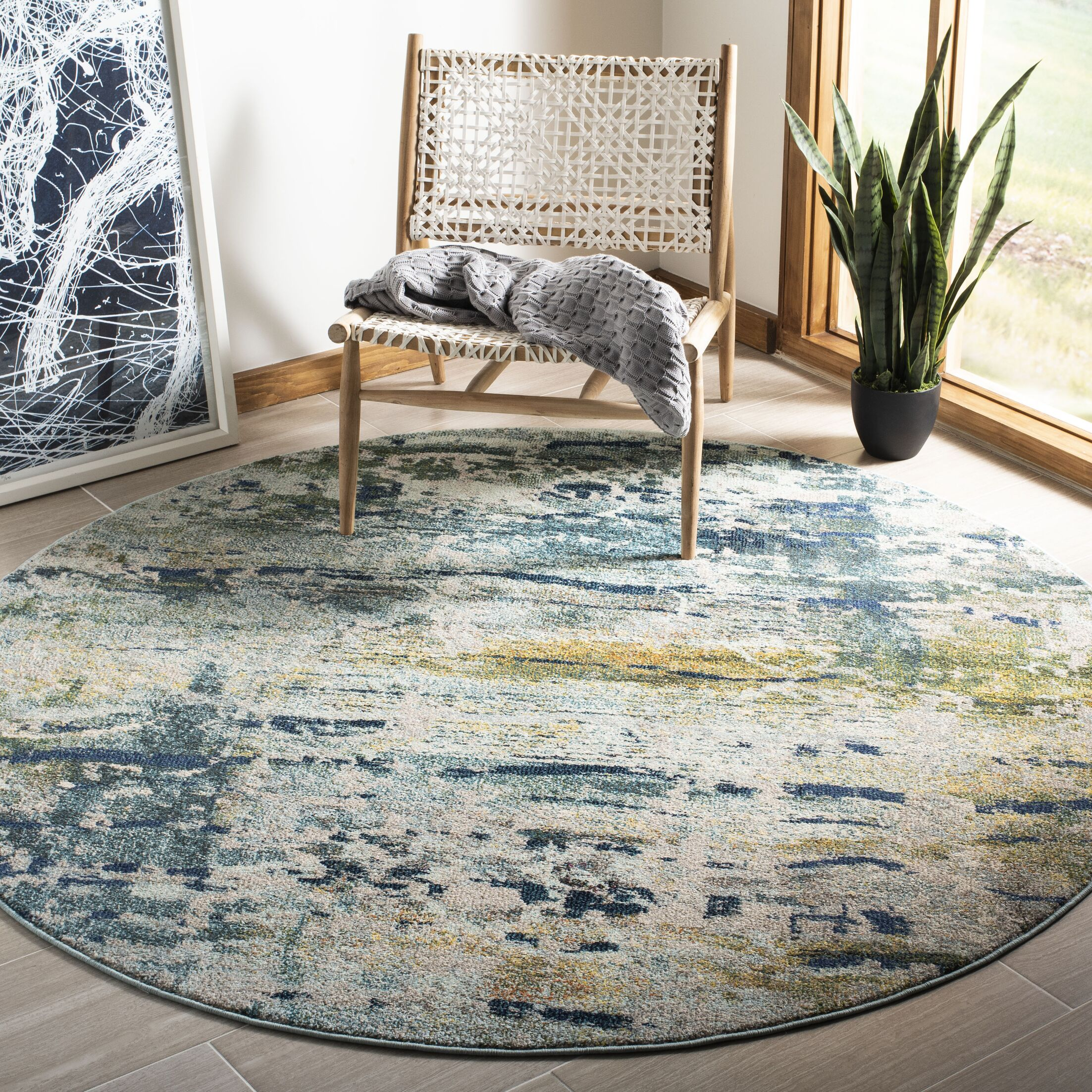Arianna Blue/Gray Area Rug Rug Size: Round 6'7