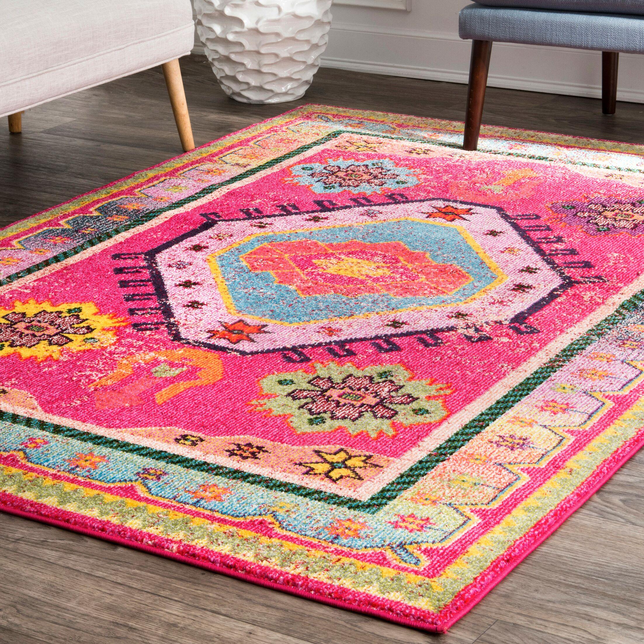 Herlinda Pink Area Rug Rug Size: Rectangle 5' x 8'