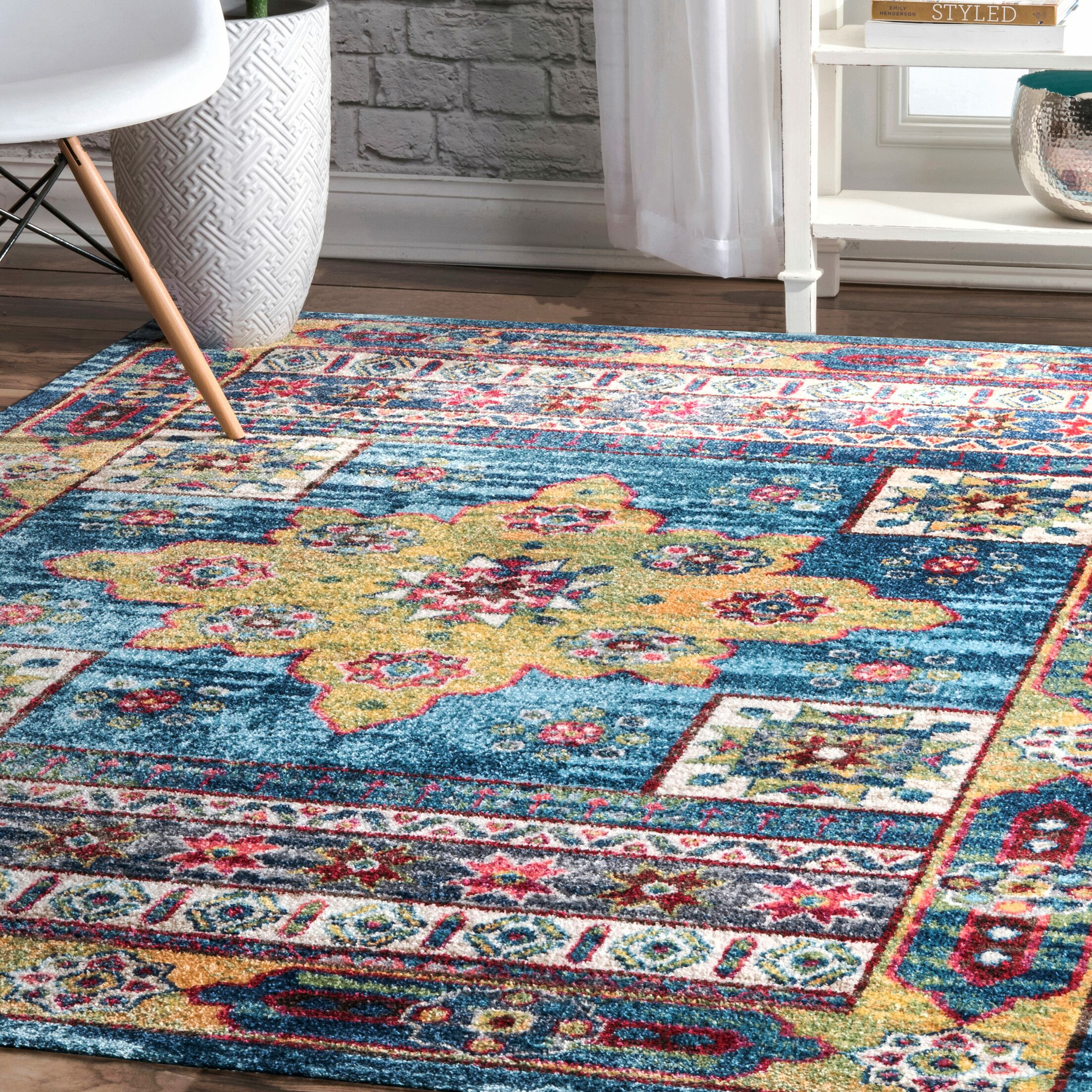 Herminia Blue Area Rug Rug Size: Rectangle 8' x 10'