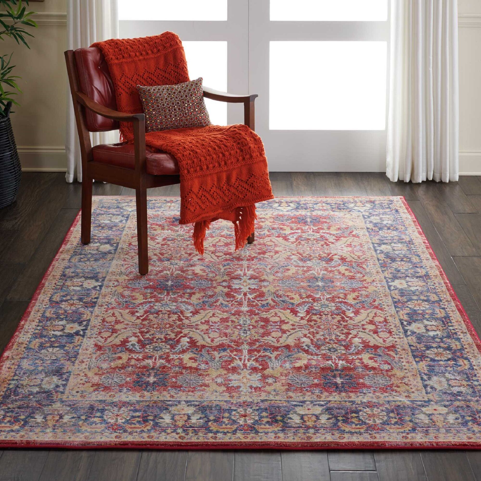 Oglethorpe Power Loom Blue/Red Area Rug Rug Size: Rectangle 5'3